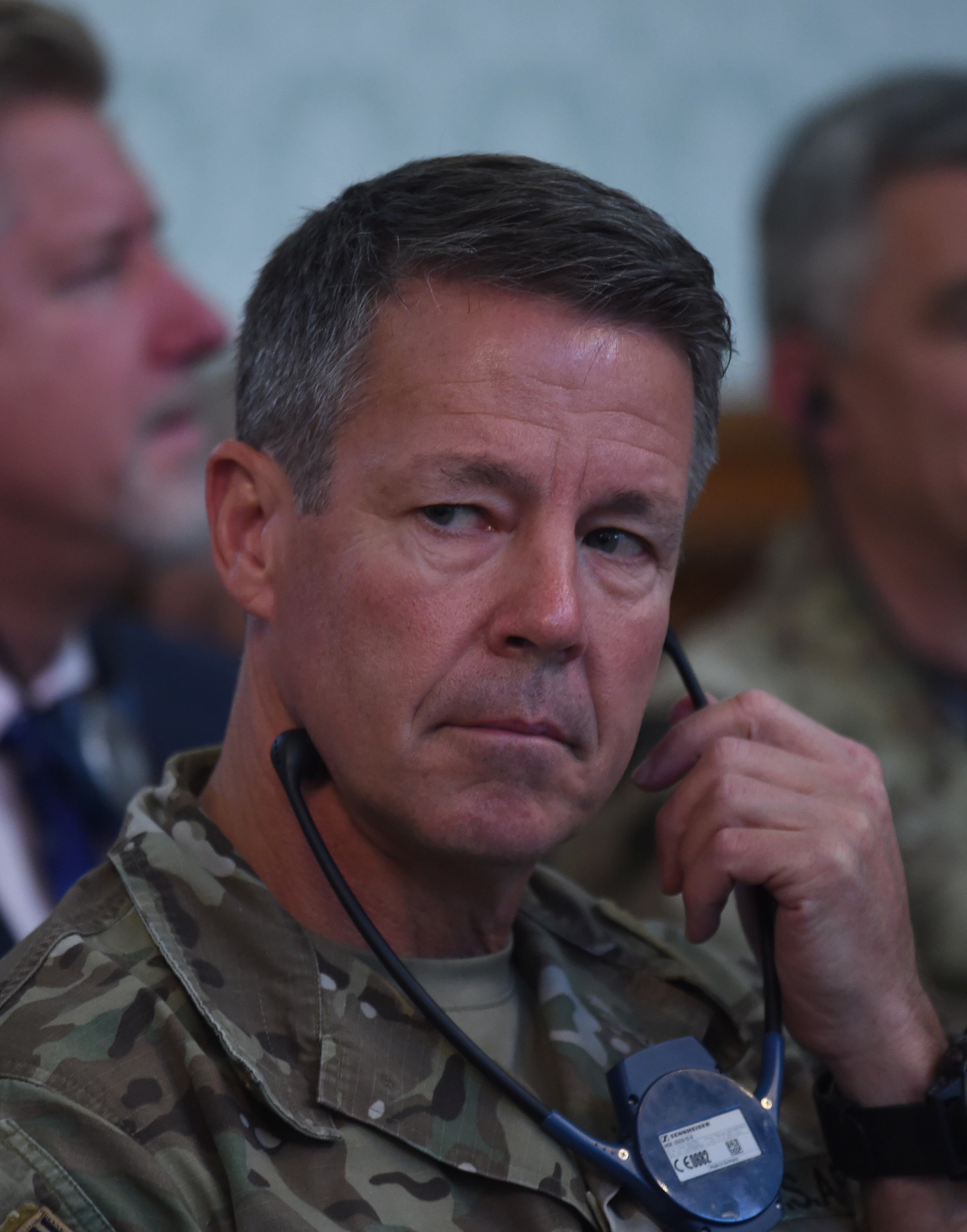 Command of U.S. and NATO forces in Afghanistan General Scott Miller attends the joint press conference of Afghan President Ashraf Ghani and NATO chief Jens Stoltenberg at the Presidential Palace in Kabul, Nov. 6, 2018. NATO chief Jens Stoltenberg sa...