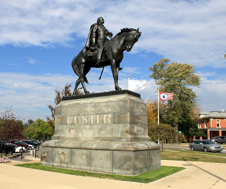 """George Armstrong Custer Equestrian Statue, """"Sighting the Enemy"""", erected in Monroe, Michigan in 1910."""