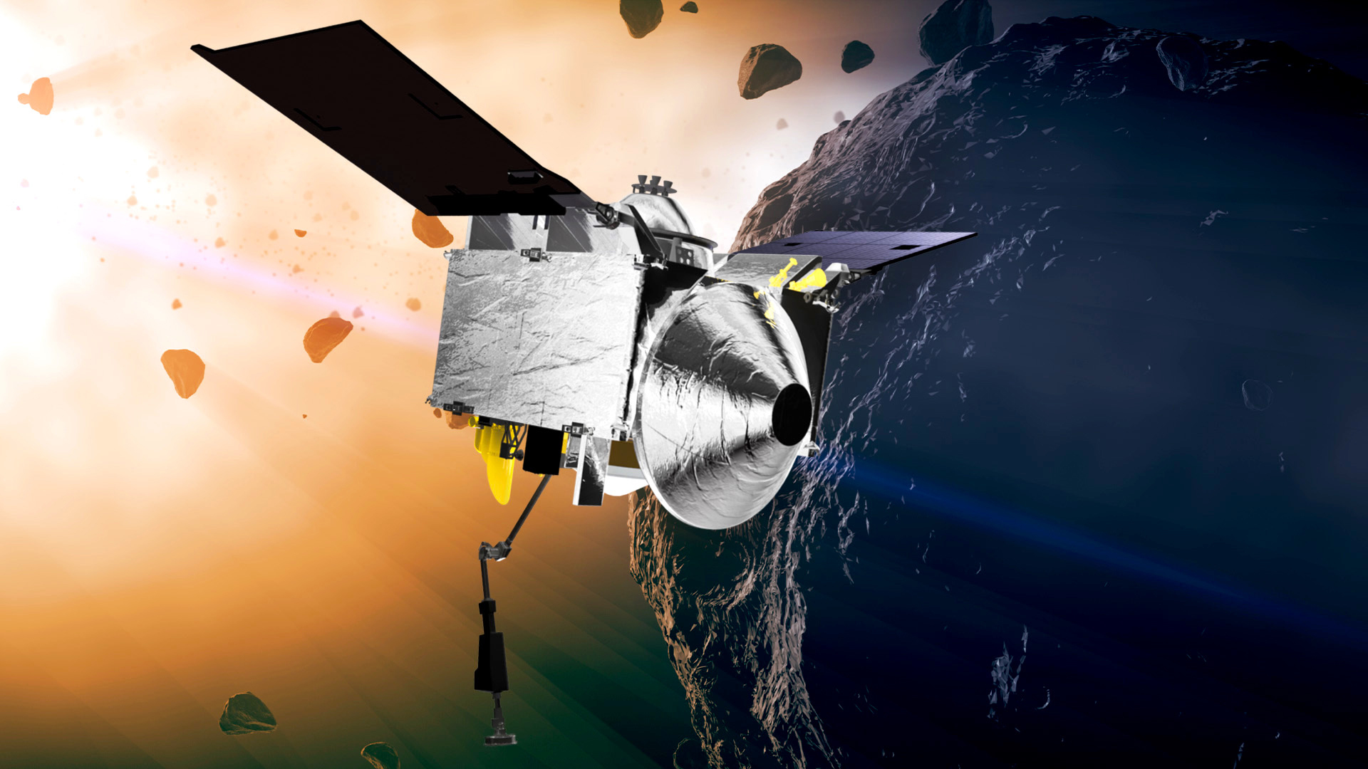 This illustration provided by NASA depicts the OSIRIS-REx spacecraft at the asteroid Bennu. The rocky remnant from the dawn of the solar system may hold clues to the origins of life.