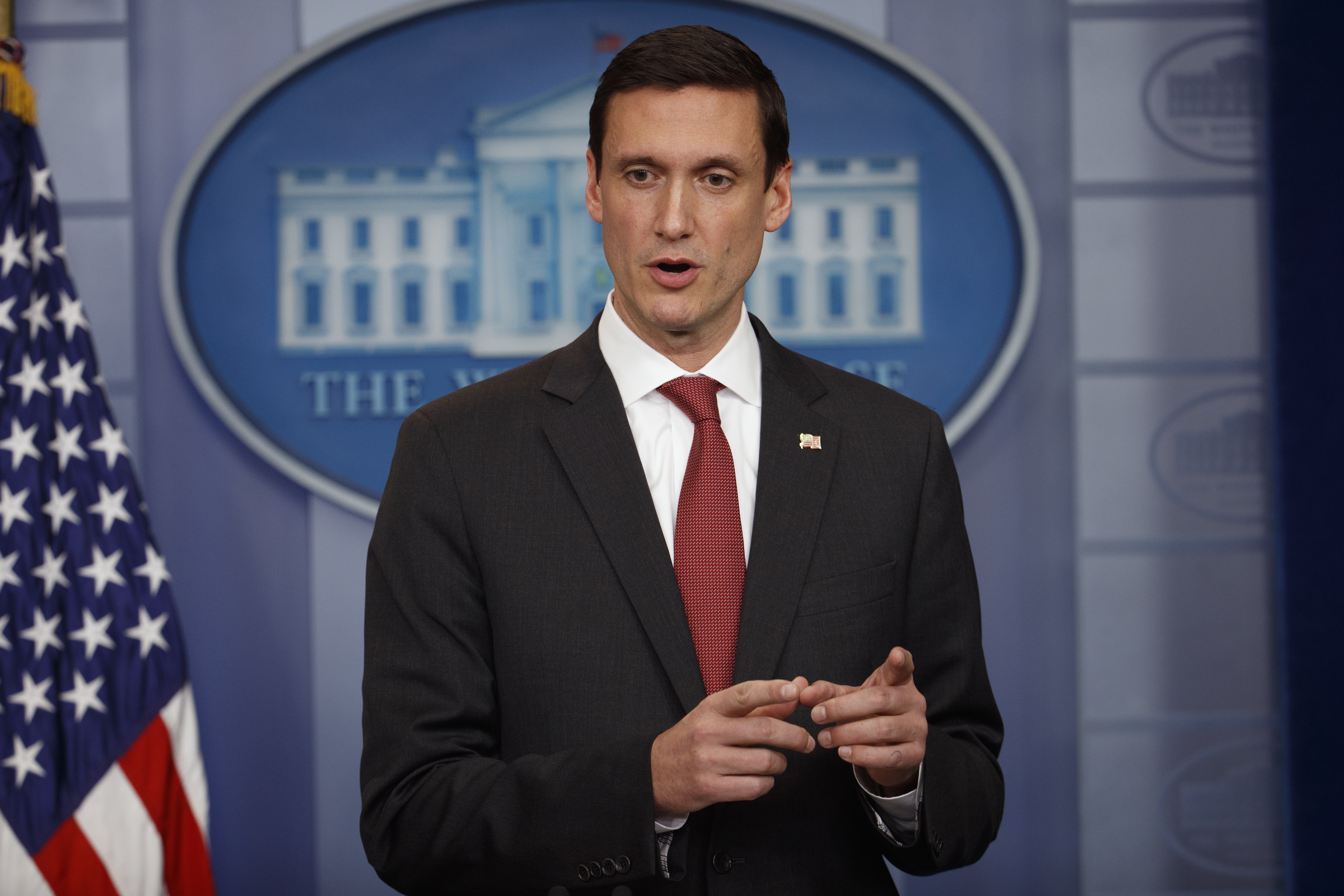 Homeland security adviser Tom Bossert speaks during the daily White House press briefing at the White House in Washington, May 11, 2017.