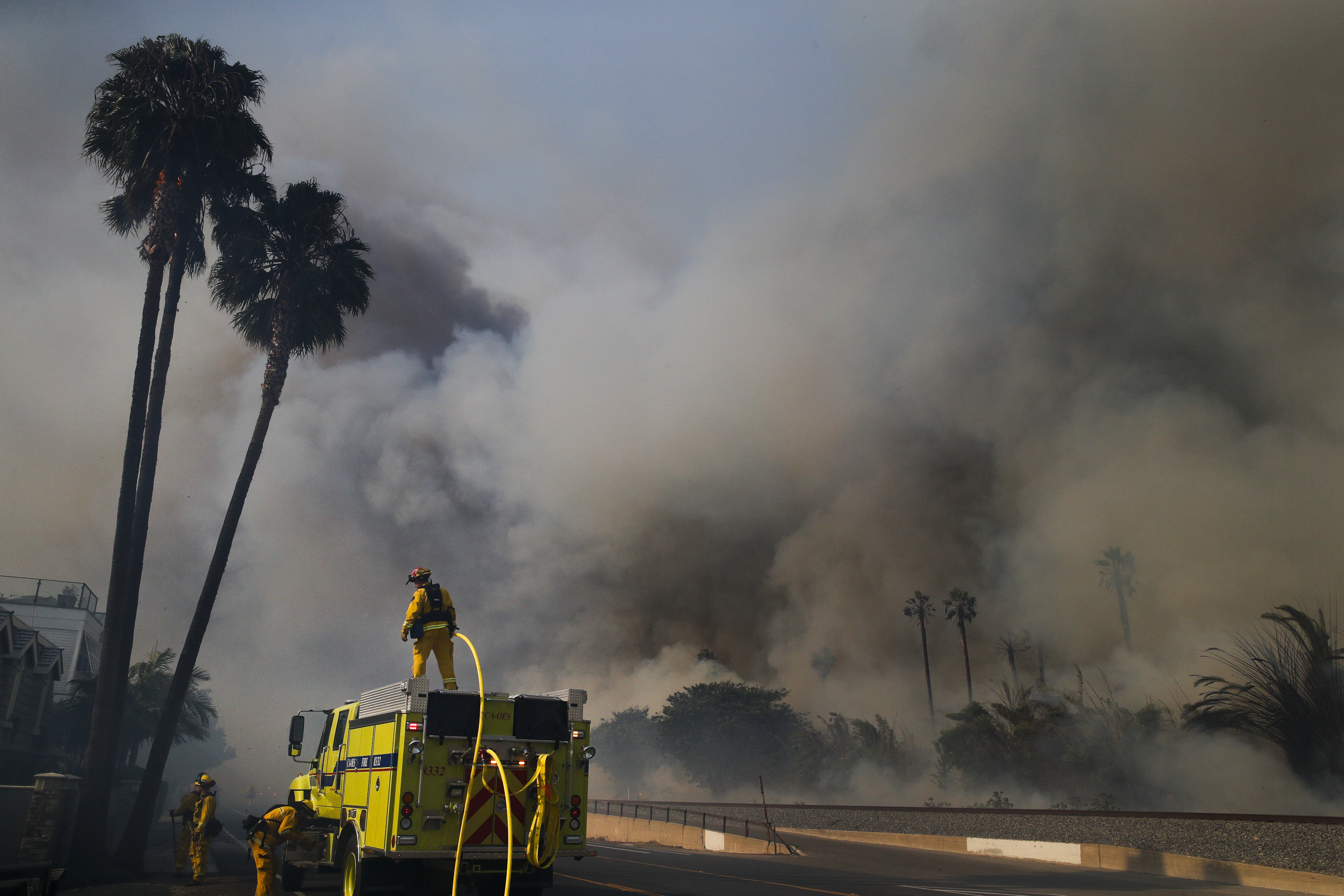 Firefighters battle a wildfire as smoke rises from burning palm trees at Faria State Beach in Ventura, California, Dec. 7, 2017.