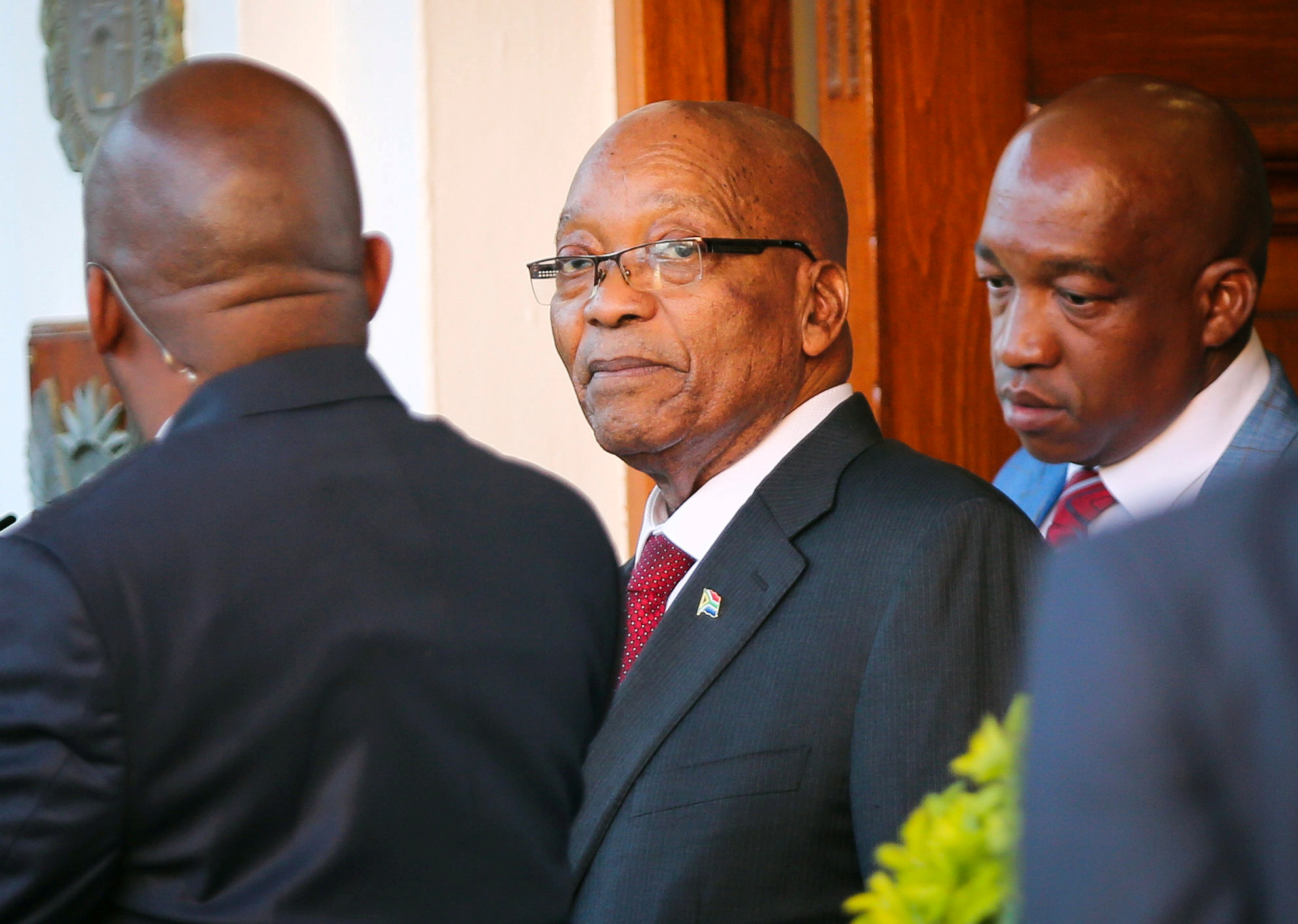 President Jacob Zuma leaves Tuynhuys, the office of the Presidency at Parliament in Cape Town, South Africa, Feb. 7, 2018.