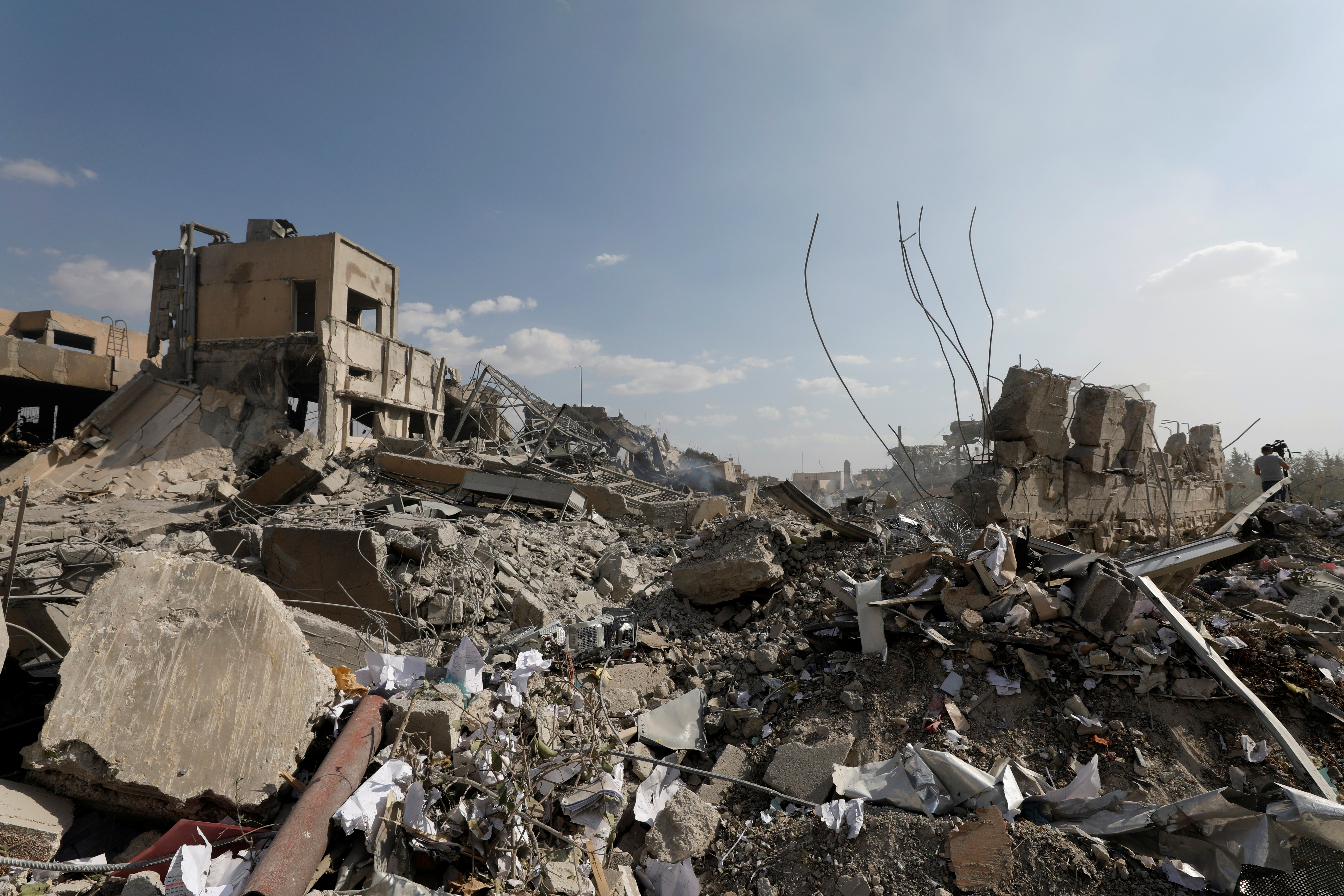 The destroyed Scientific Research Center is seen in Damascus, Syria, April 14, 2018.