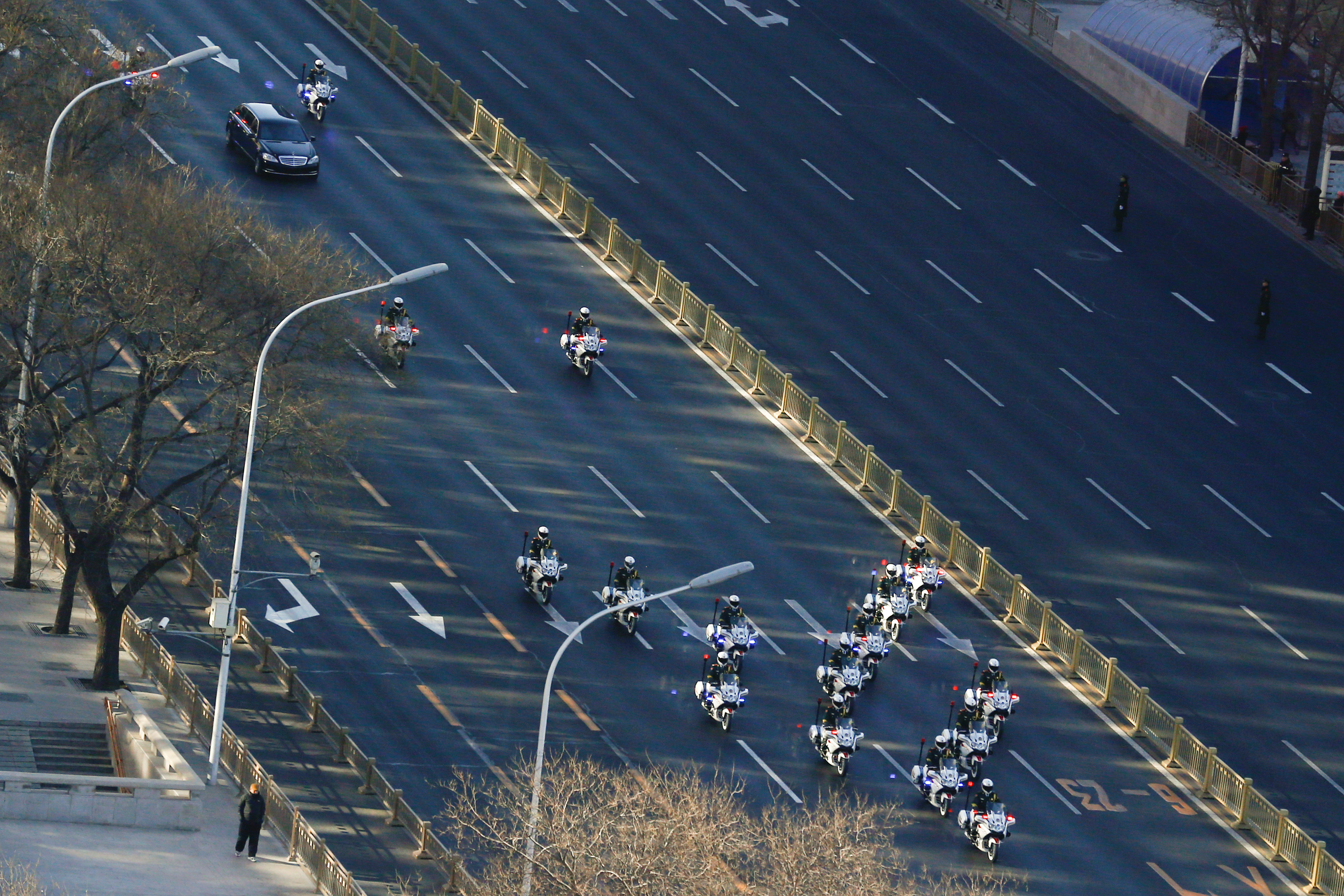 A vehicle that is part of a motorcade believed to be carrying North Korean leader Kim Jong Un makes its way through central Beijing, China, Jan. 8, 2019.
