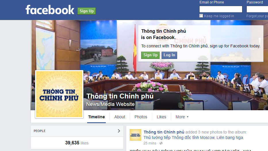 Vietnam government's official Facebook page.