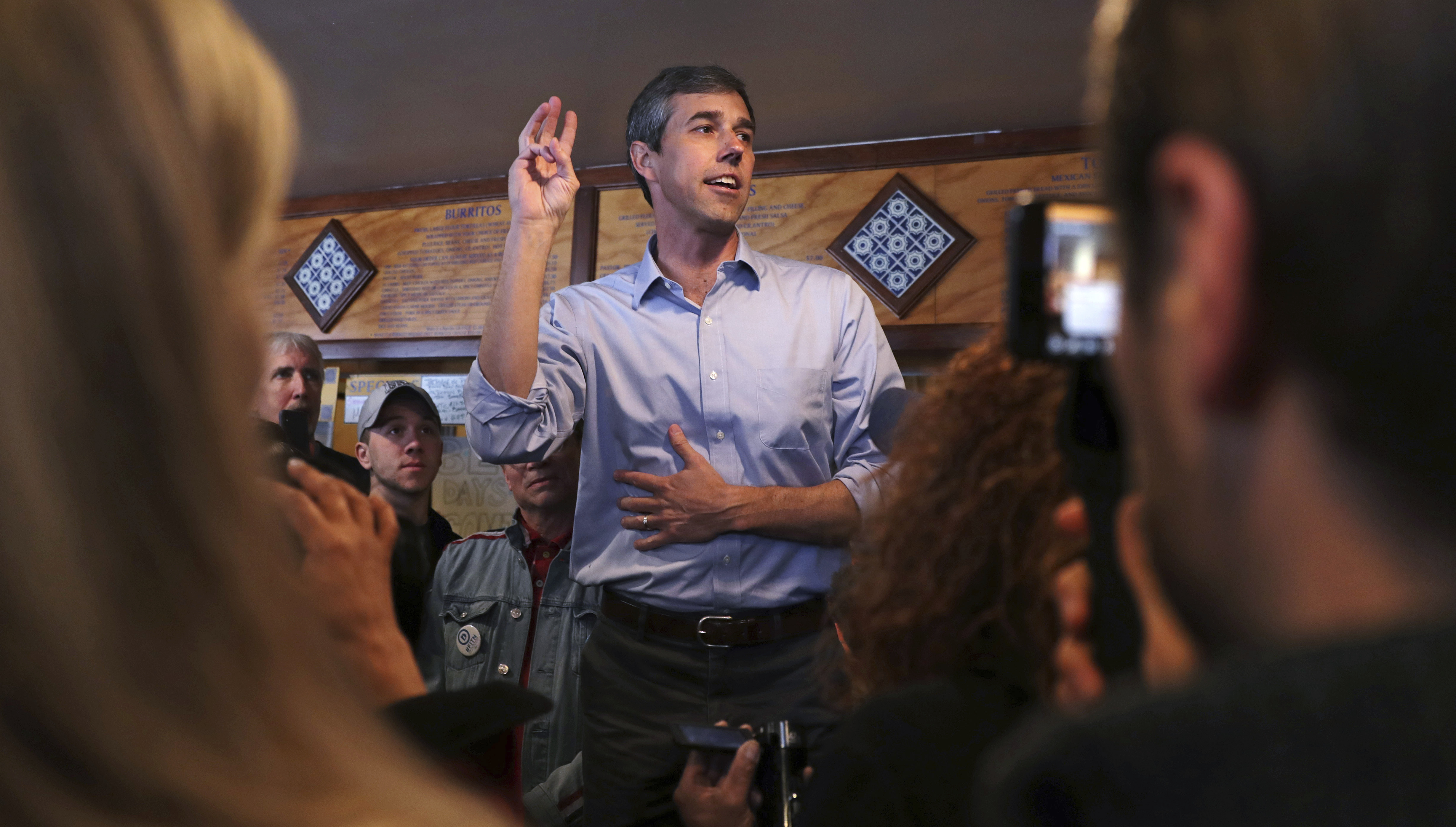Former Texas congressman Beto O'Rourke addresses a gathering during a campaign stop at a restaurant in Manchester, New Hampshire,  March 21, 2019.