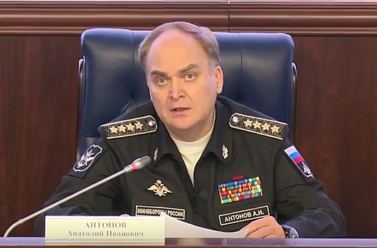 Russian Deputy Defense Minister Anatoly Antonov is seen speaking at a briefing in a screen grab taken from video from the Russian Defense Ministry's YouTube channel.