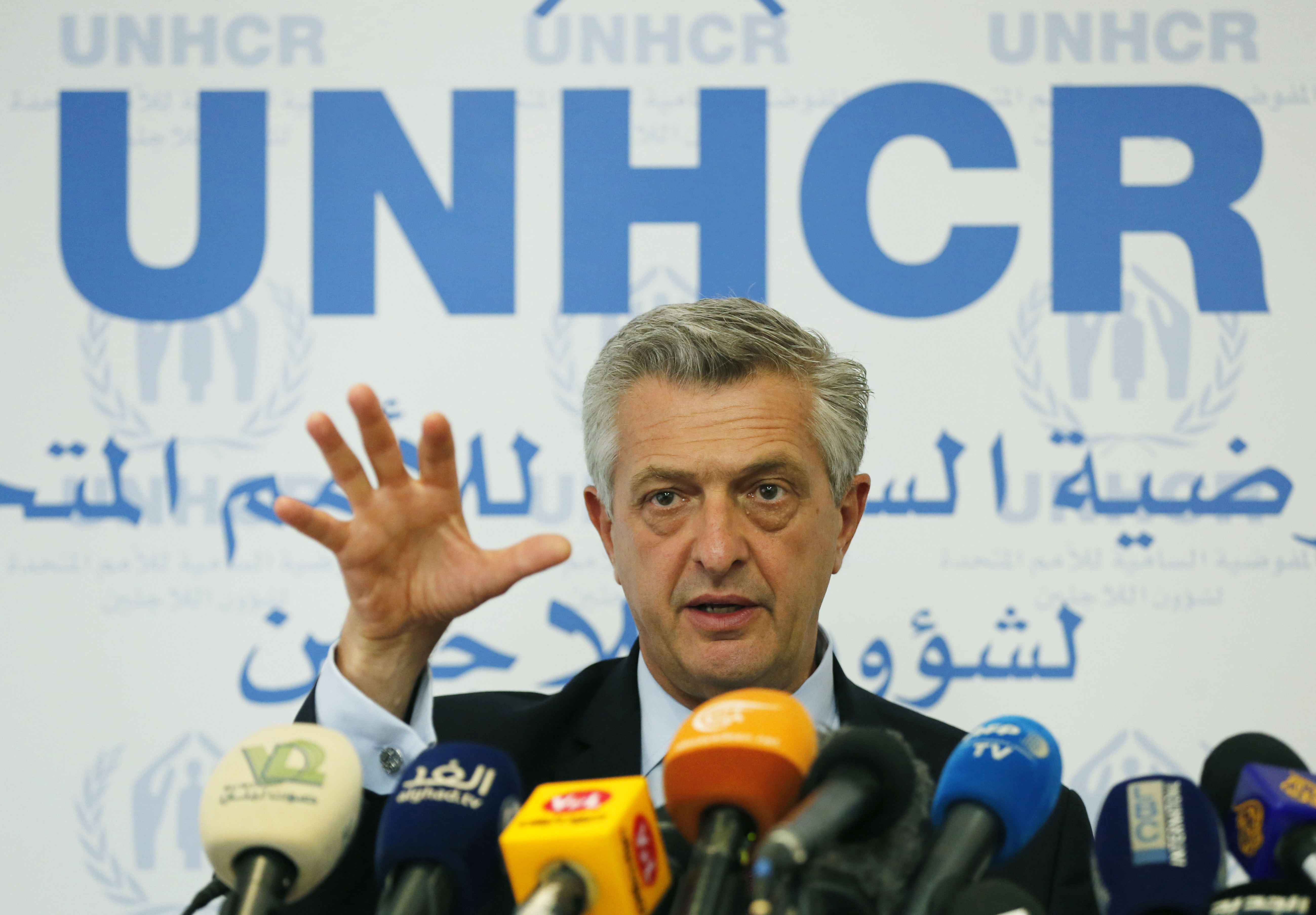 Filippo Grandi UN High Commissioner for Refugees, gestures as he speaks during a press conference, in Beirut, Lebanon, Friday, Aug. 31, 2018. Grandi says a potential military offensive in the last rebel stronghold in Syria threatens to cause fresh di...