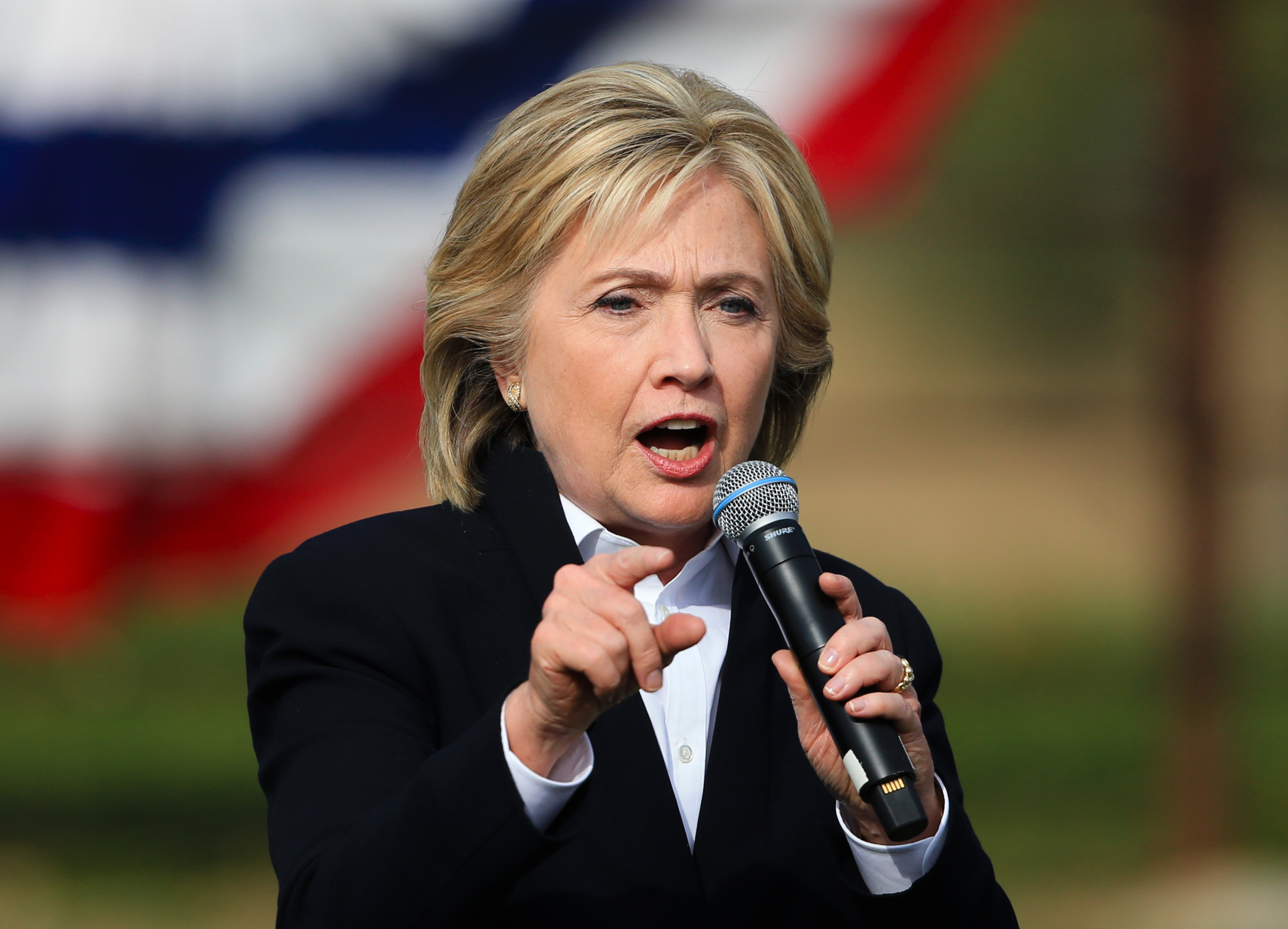 Democratic presidential candidate Hillary Rodham Clinton speaks during a campaign stop at the Westfair Amphitheater in Council Bluffs, Iowa, Oct. 7, 2015.