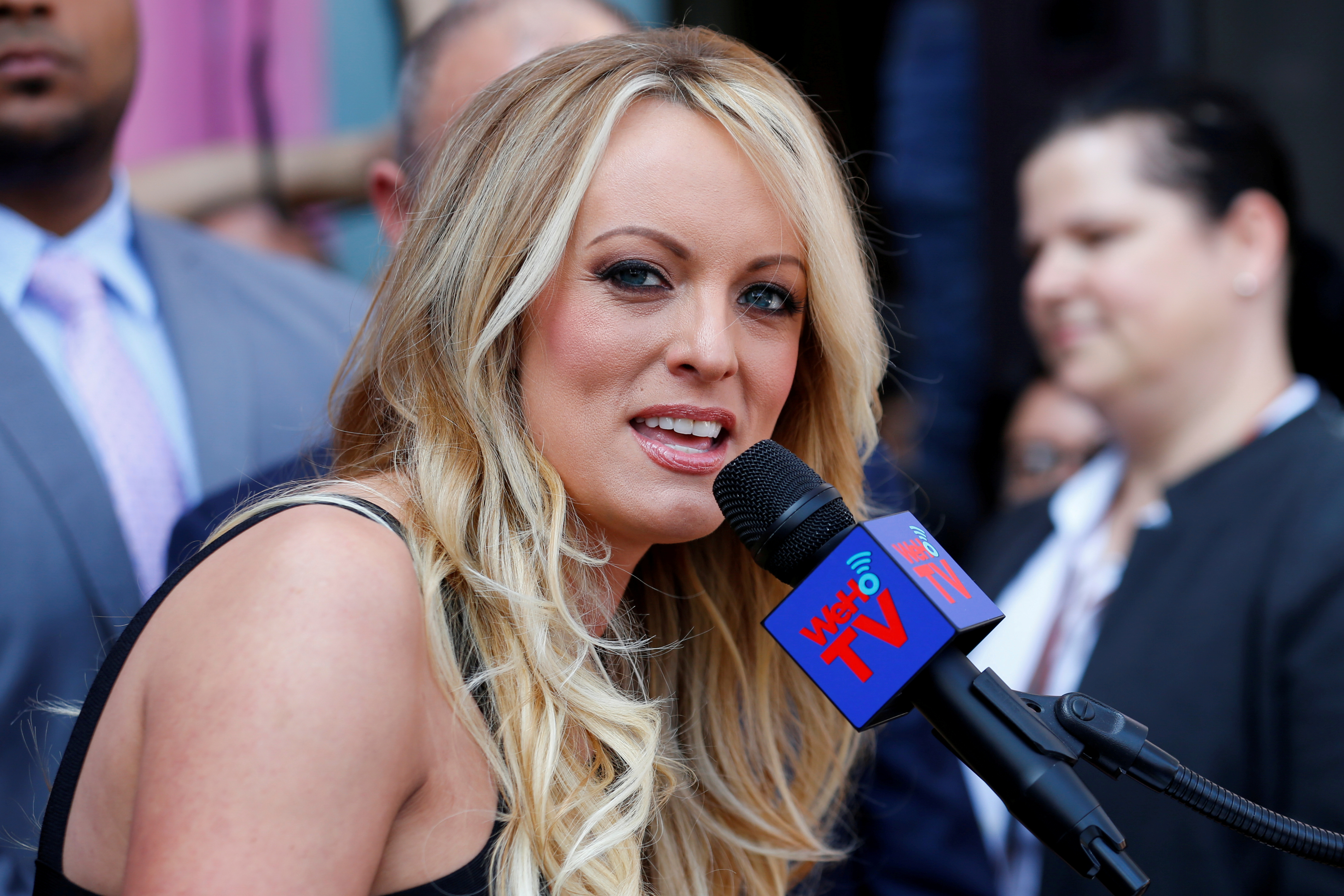 FILE - Stormy Daniels, the porn star currently in legal battles with U.S. President Donald Trump, speaks during a ceremony in her honor in West Hollywood, California, May 23, 2018.