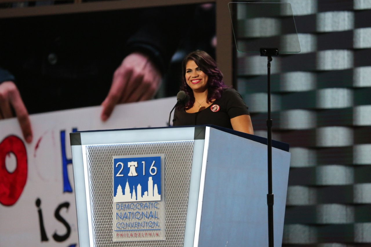 Astrid Silva, an undocumented immigrant known as a DREAMer, shared her family's story with the Democratic National Convention, in Philadelphia, July 25, 2016.