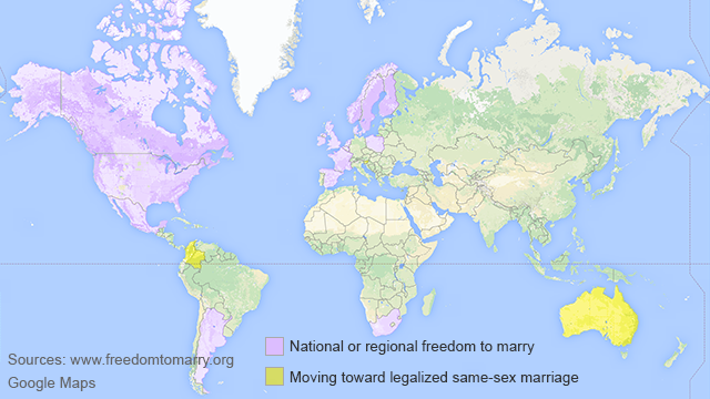 Countries that have legalized gay marriage.