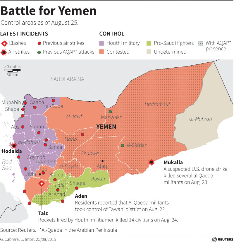 Map of Yemen showing territorial control and locations targeted by the Saudi-led air strikes.