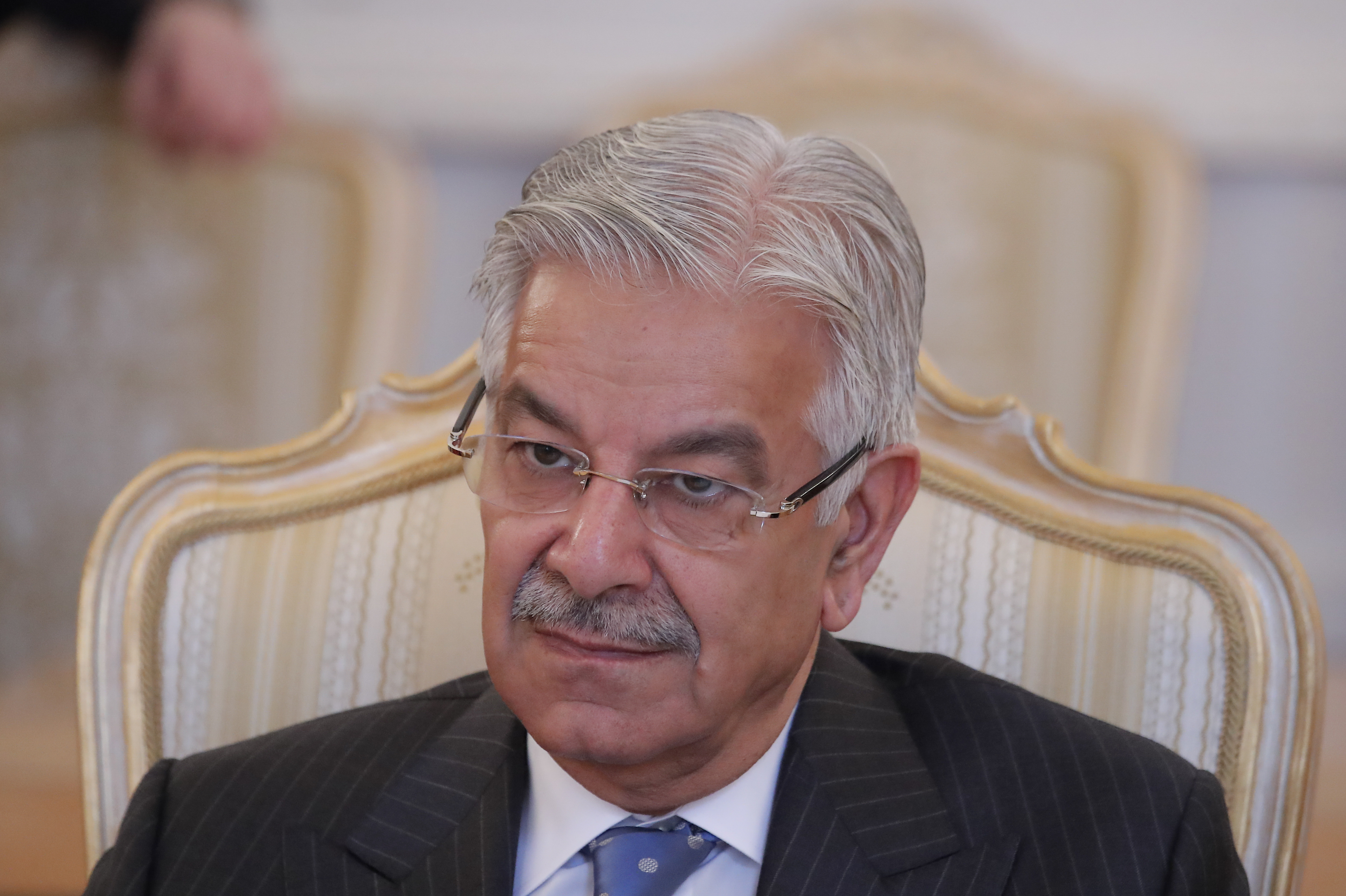 Pakistani Foreign Minister Khawaja Asif attends a meeting with his Russian counterpart Sergei Lavrov during a visit to Moscow, Russia, Feb. 20, 2018.