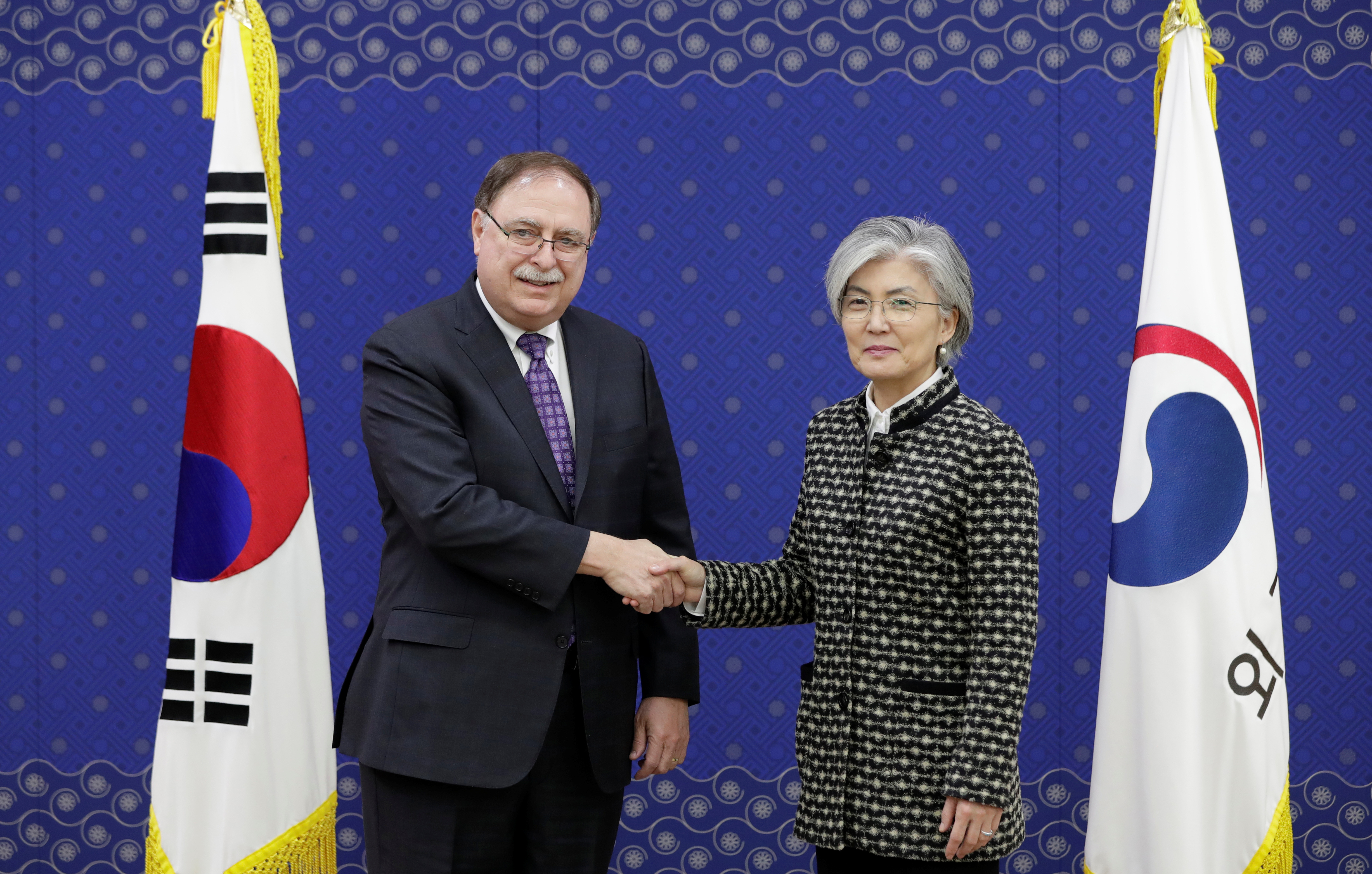 South Korean Foreign Minister Kang Kyung-wha and Timothy Betts, acting Deputy Assistant Secretary and Senior Adviser for Security Negotiations and Agreements in the U.S. Department of State, shake hands before their meeting at Foreign Ministry in Seo...