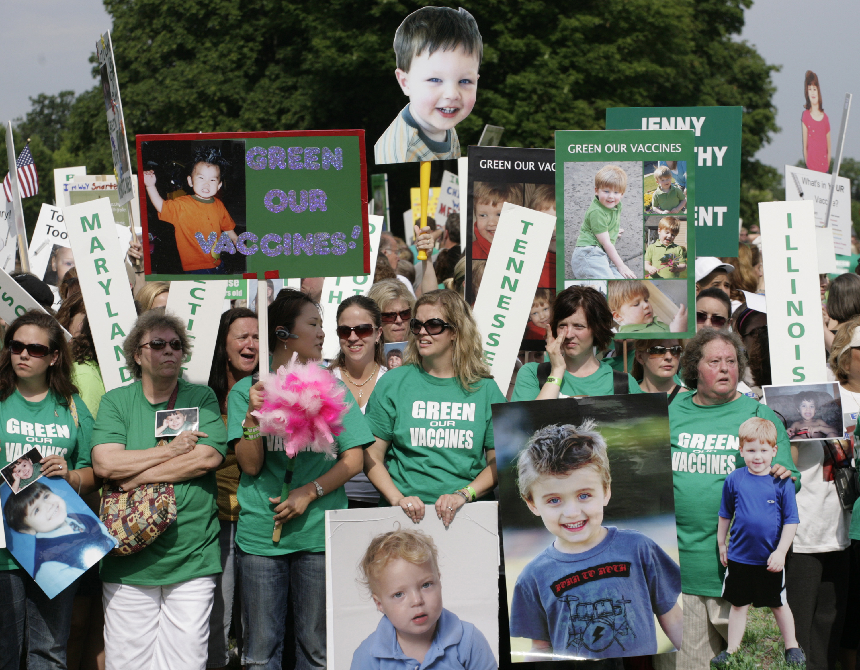 FILE - Families from across the U.S. living with autism take part in a rally calling for the elimination of toxins from children's vaccines in Washington, June 4, 2008.