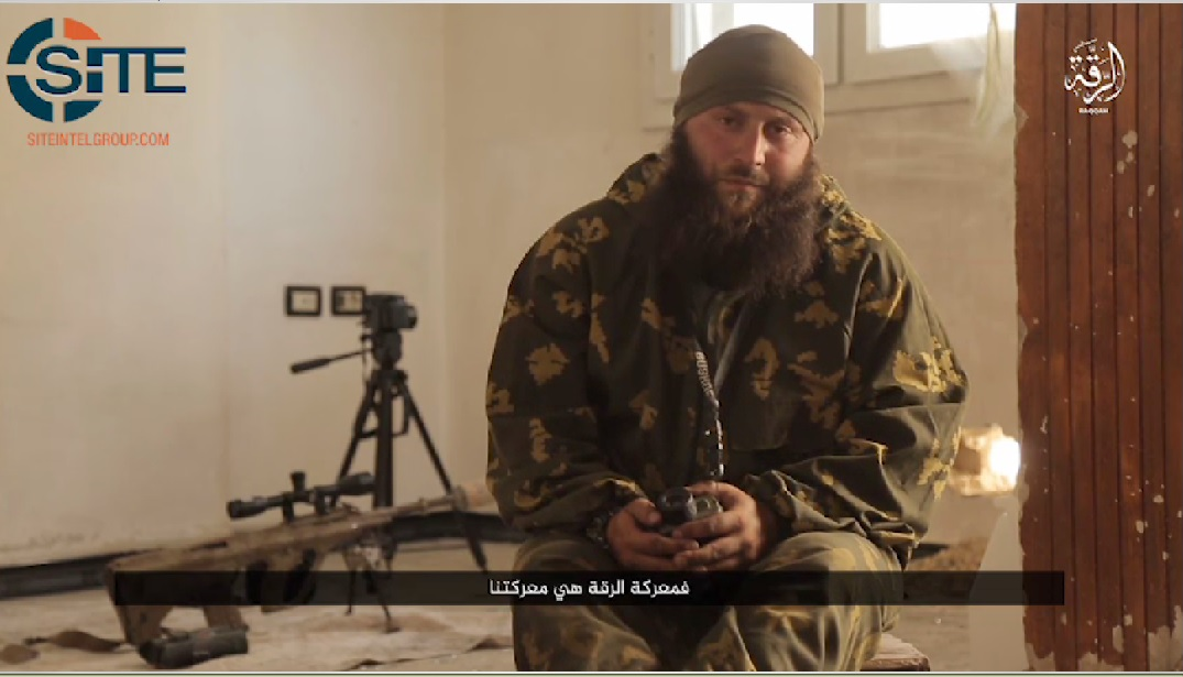 A screenshot depicts a Dagestani sniper instructor from a Furat Media propaganda video distributed by the SITE Intelligence Group.
