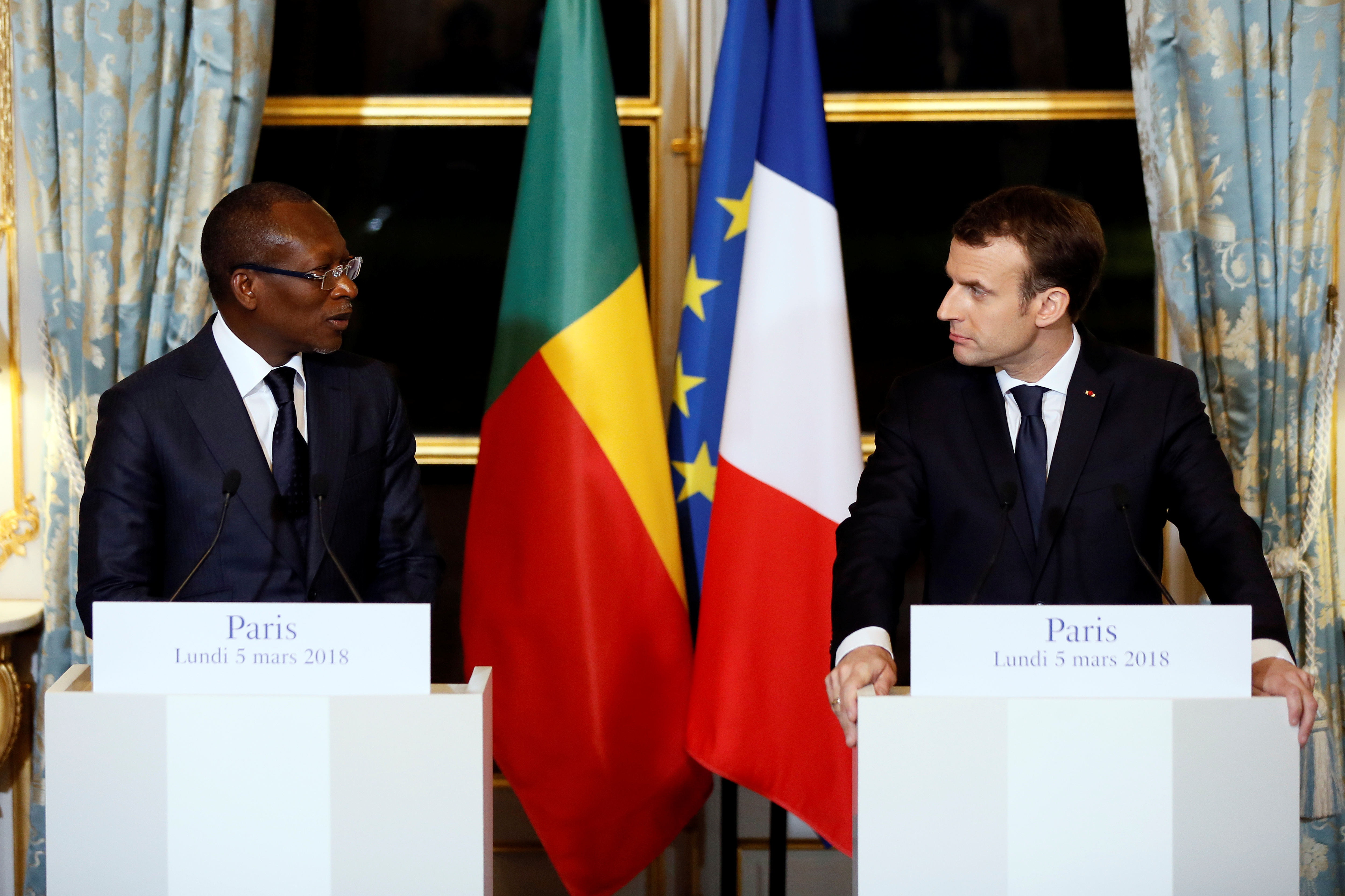 French President Emmanuel Macron and President Patrice Talon of Benin hold a joint press conference after a meeting at the Elysee Palace in Paris, France, March 5, 2018.