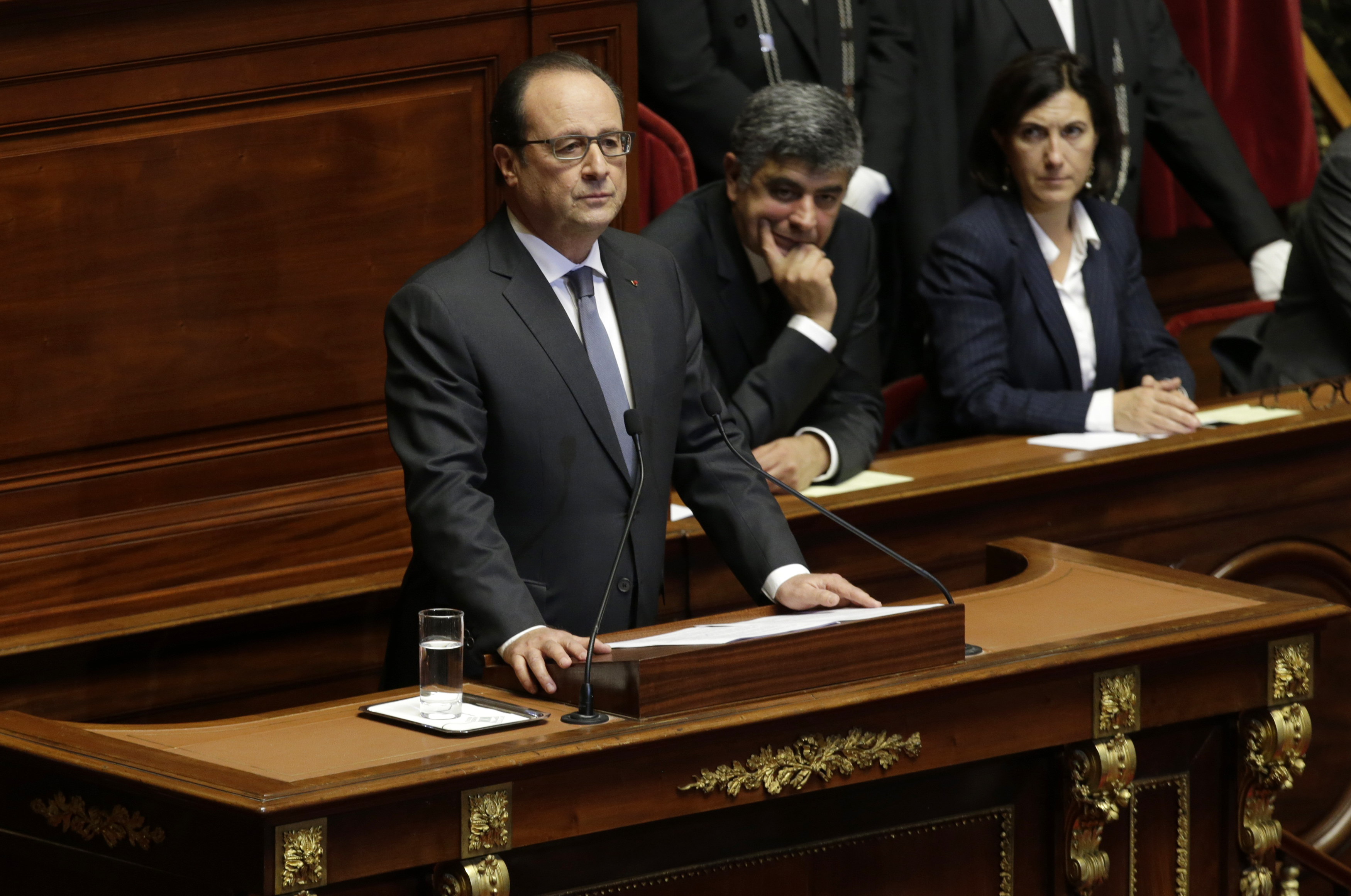 French President Francois Hollande delivers a speech at a special congress of the joint upper and lower houses of parliament at the Palace of Versailles, near Paris, France, Nov. 16, 2015.