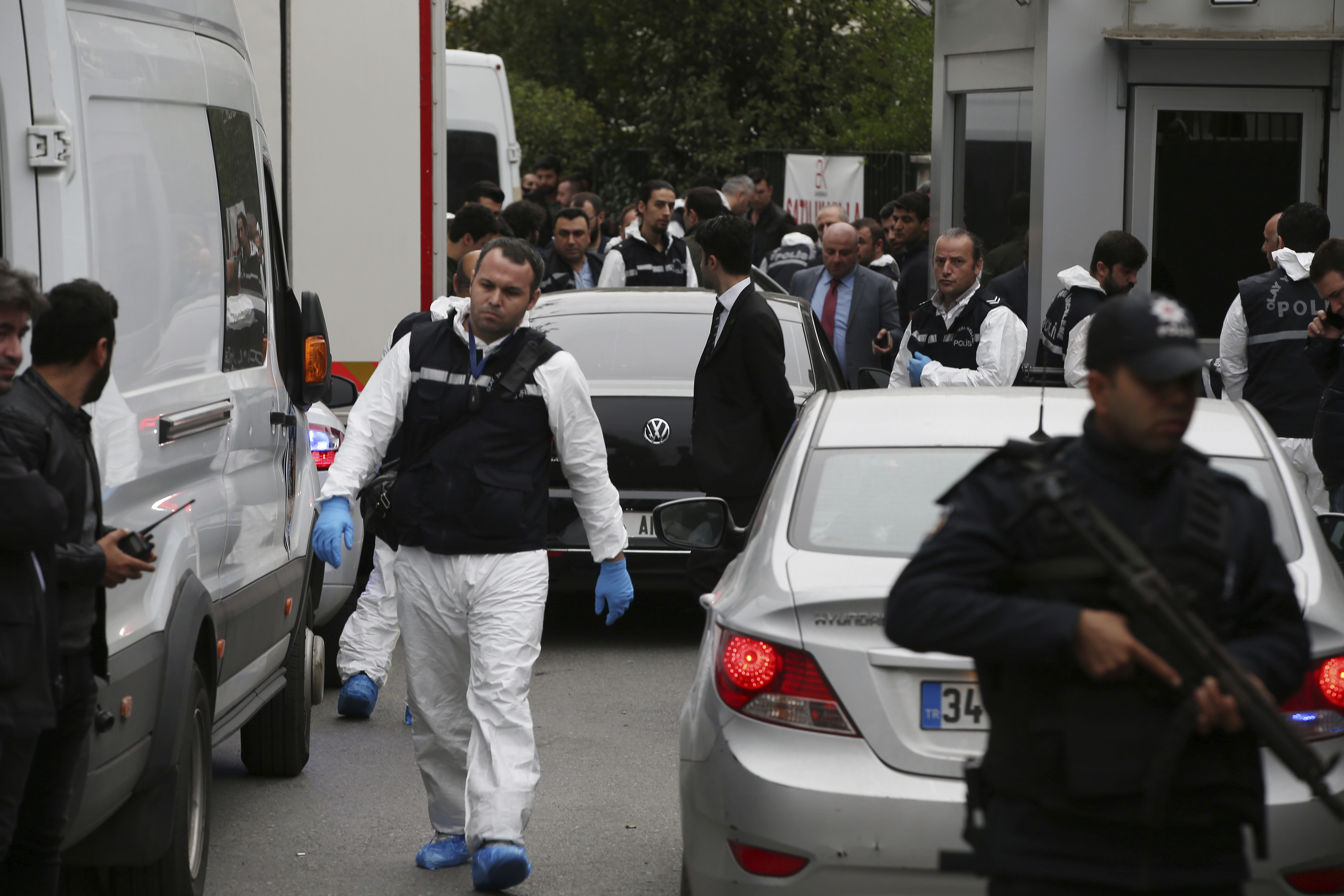 Turkish police gather outside the residence of the Saudi consul General Mohammed al-Otaibi to conduct a search after the disappearance and alleged slaying of writer Jamal Khashoggi, in Istanbul, Oct. 17, 2018.