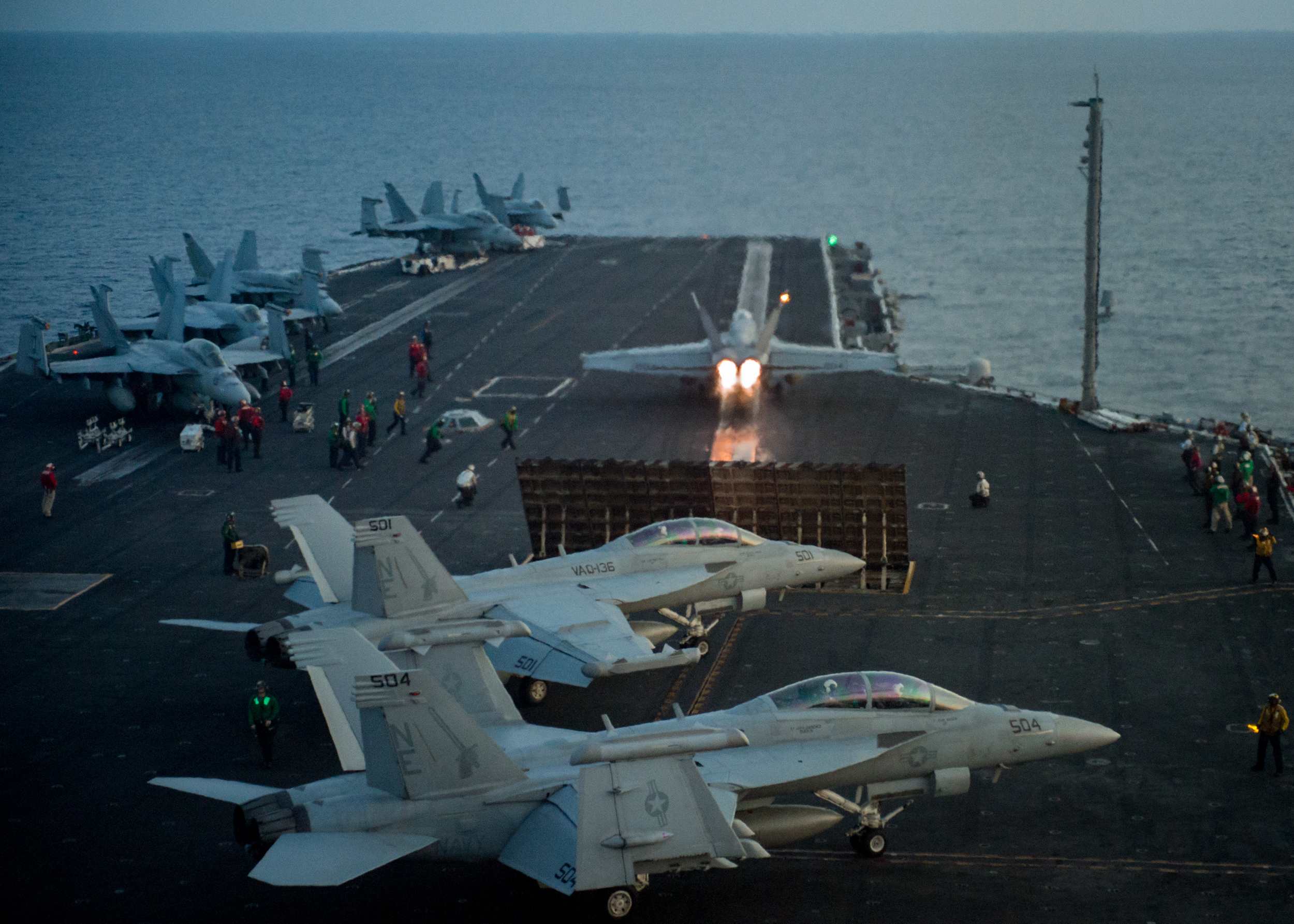 """An F/A-18E Super Hornet from the Strike Fighter Squadron (VFA) 137 """"Kestrels"""" takes off from the aircraft carrier USS Carl Vinson (CVN 70) flight deck in South China Sea, April 12, 2017."""