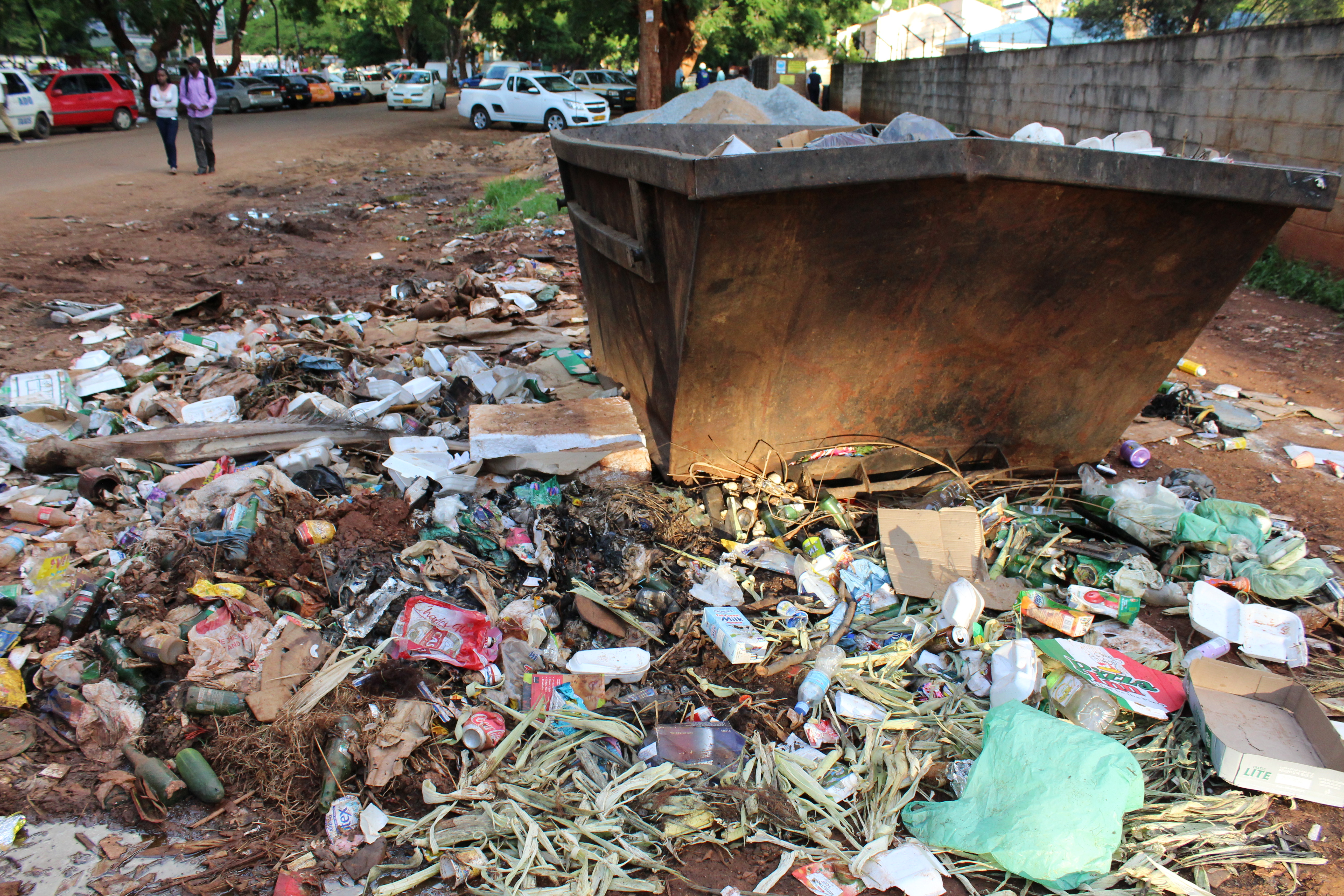 """In Mbare township, the """"epicentre"""" of the current typhoid outbreak, sewer water flows and refuse has gone for days without being collected, Harare, Zimbabwe, Jan. 5, 2017. (S.Mhofu/VOA)"""