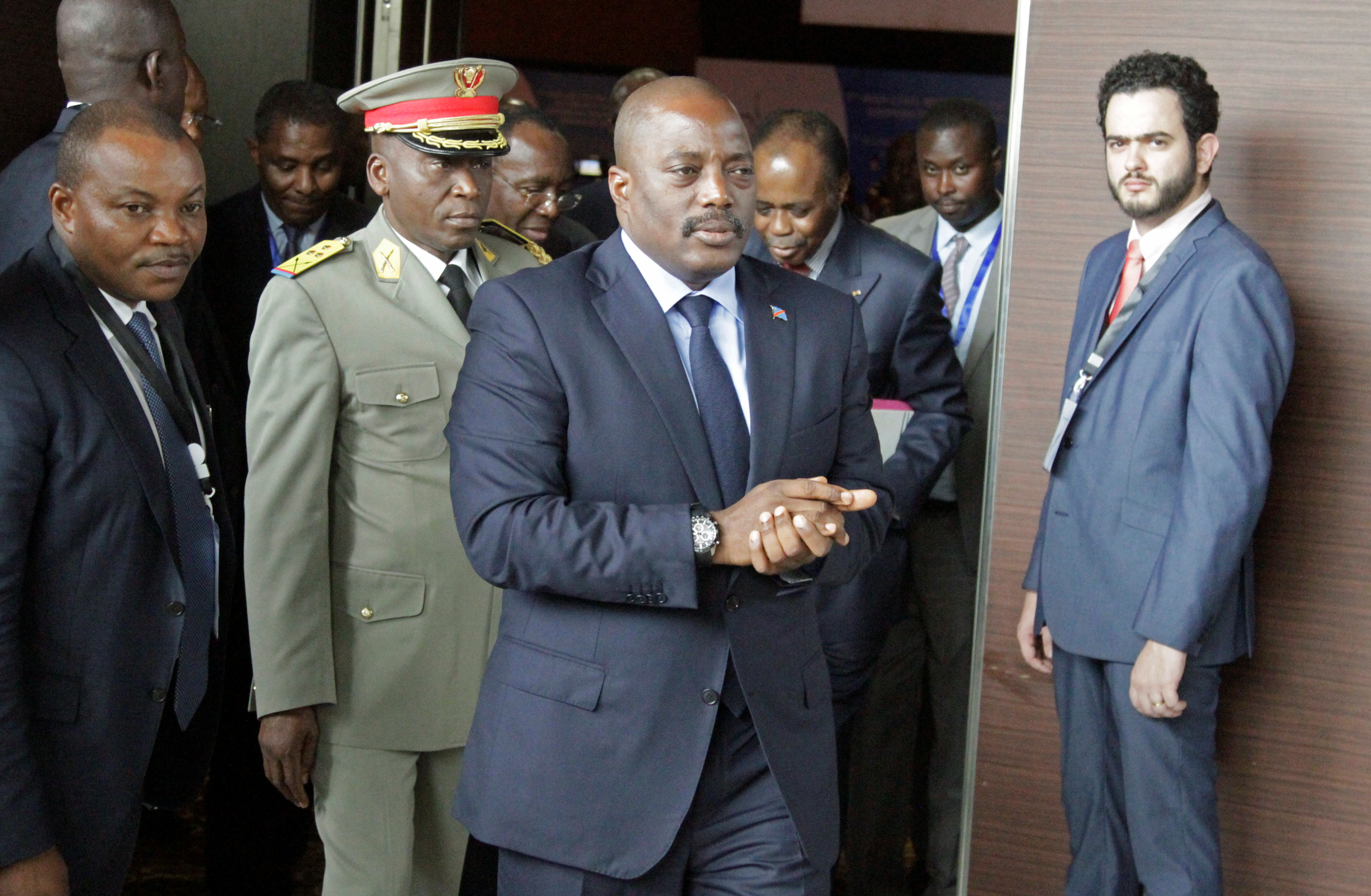 FILE - Democratic Republic of Congo's President Joseph Kabila arrives for a southern and central African leaders' meeting to discuss the political crisis in the Democratic Republic of Congo in Luanda, Angola.