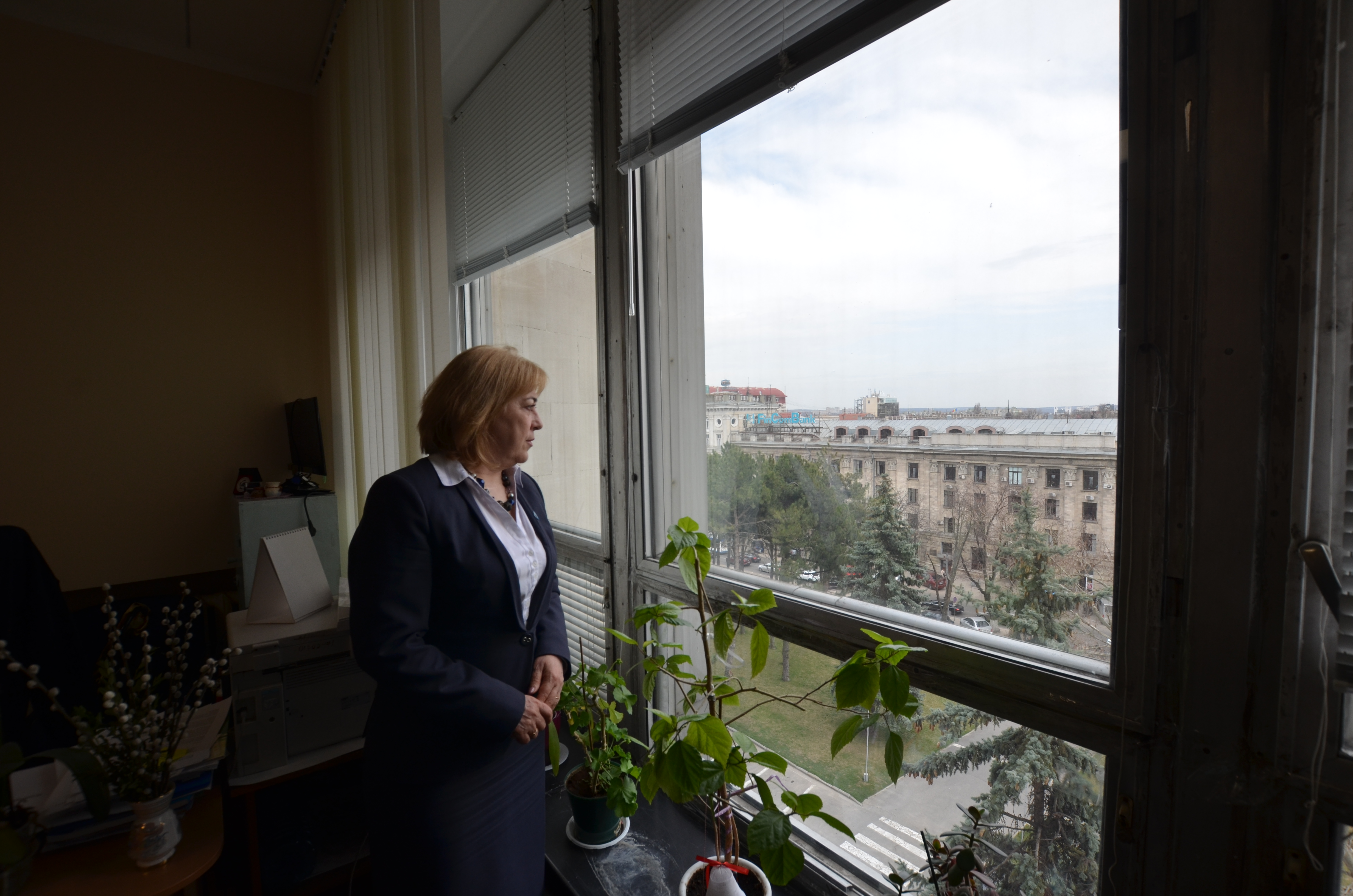 Ecaterina Berejan, the secretary of Moldova's national anti-trafficking committee poses for pictures in her office in Chisinau, Moldova, April 5, 2018.