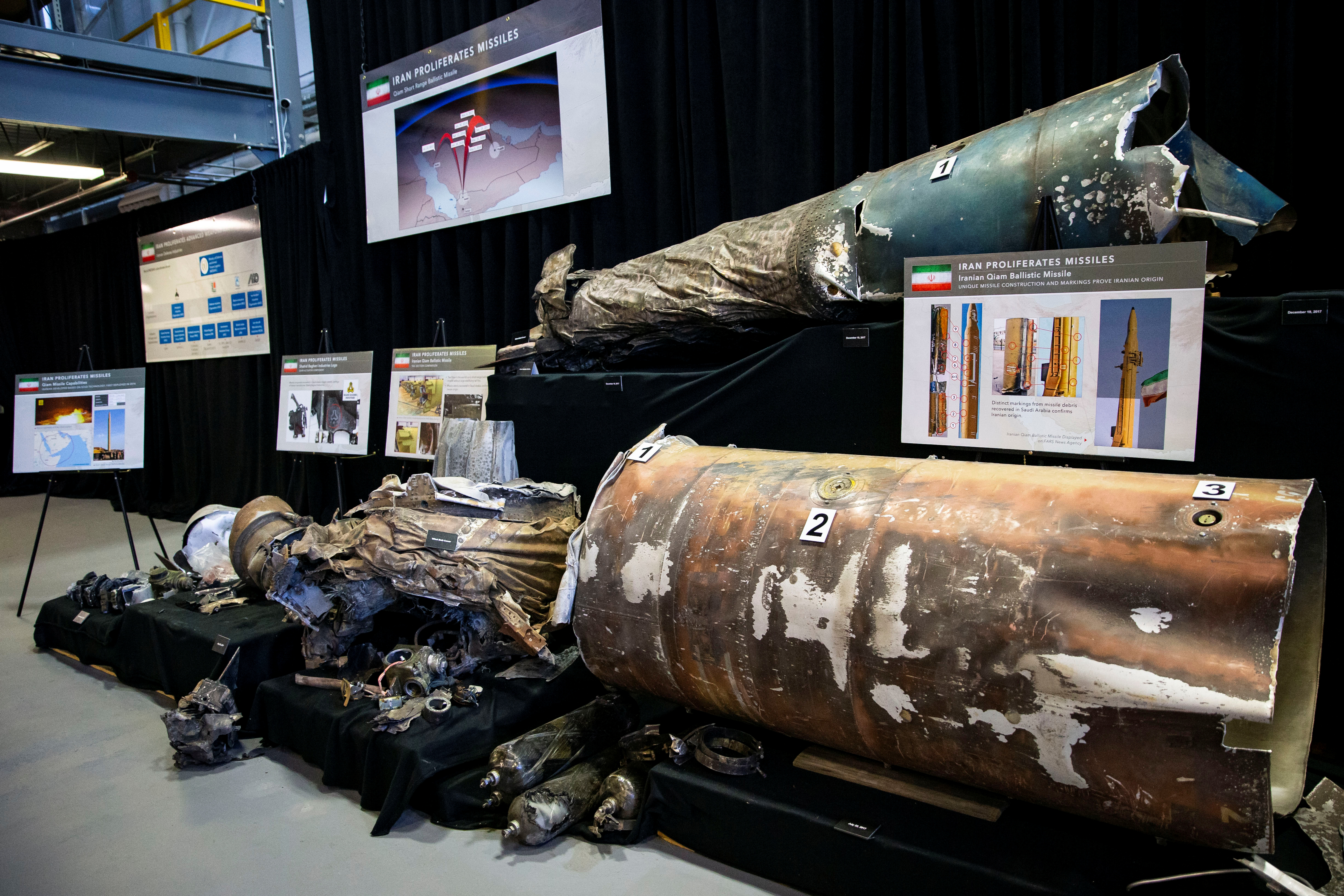 """A U.S. Department of Defense exhibit shows a """"Qiam"""" ballistic missile manufactured in Iran, at a military base in Washington, Nov. 29, 2018."""