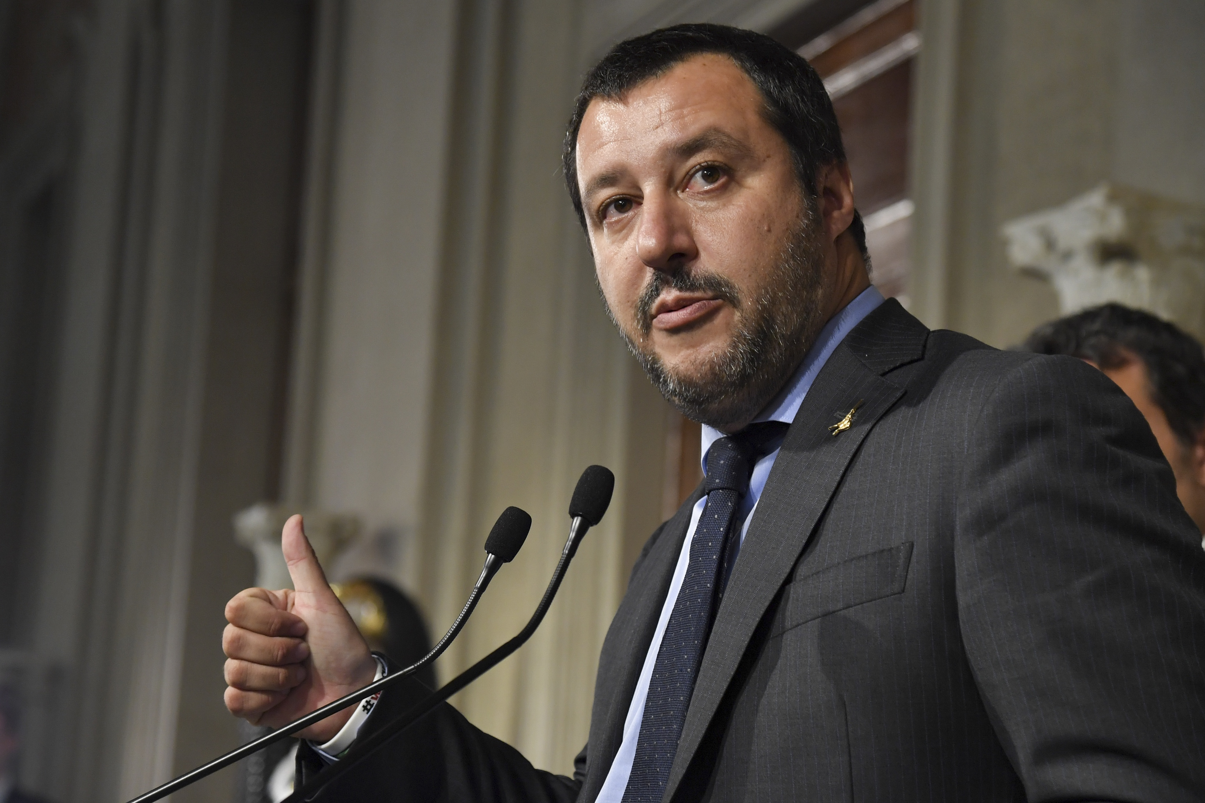 """Matteo Salvini, leader of the far-right party """"Lega"""" (League) speaks to the press after a meeting with Italian President Sergio Mattarella as part of consultations of political parties to form a government, on May 14, 2018 at the Quirinale palace in ..."""