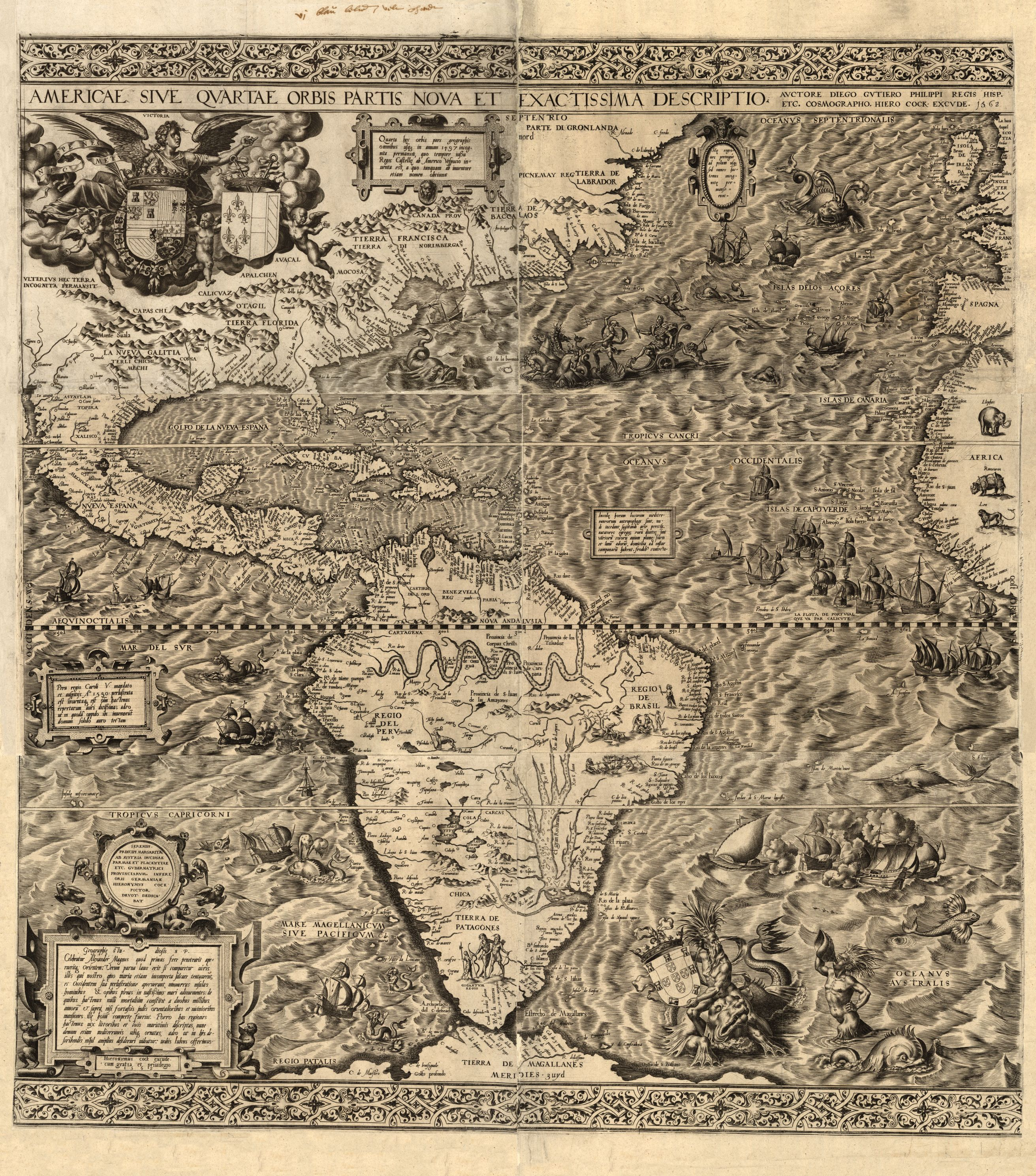 A map of the Americas in 1562, a collaboration by 16th Century Spanish cartographer Diego Gutiérrez and noted Antwerb engraver Hieronymus Cock.