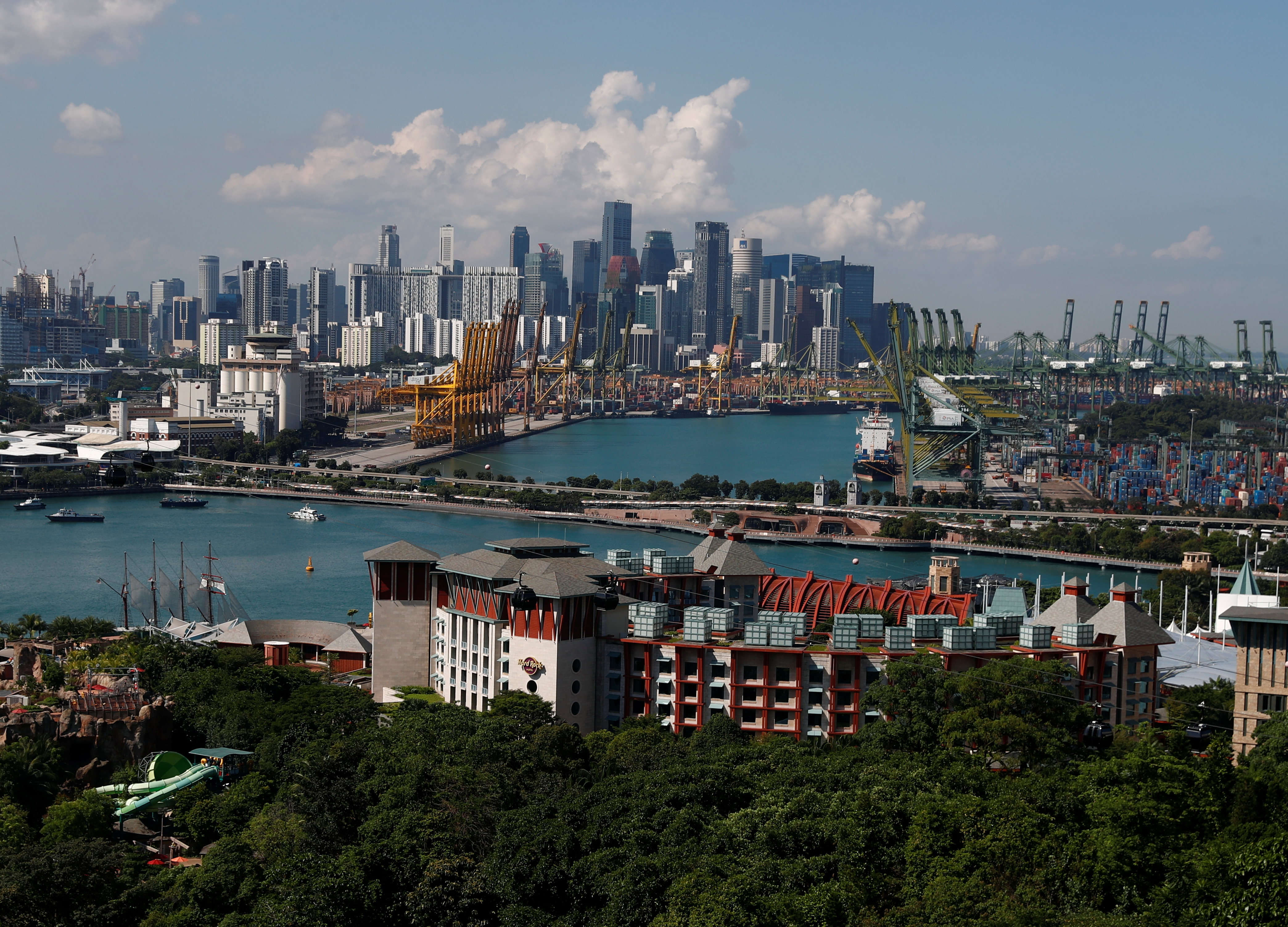 A view of Sentosa island and the skyline of the central business district in Singapore, June 4, 2018.