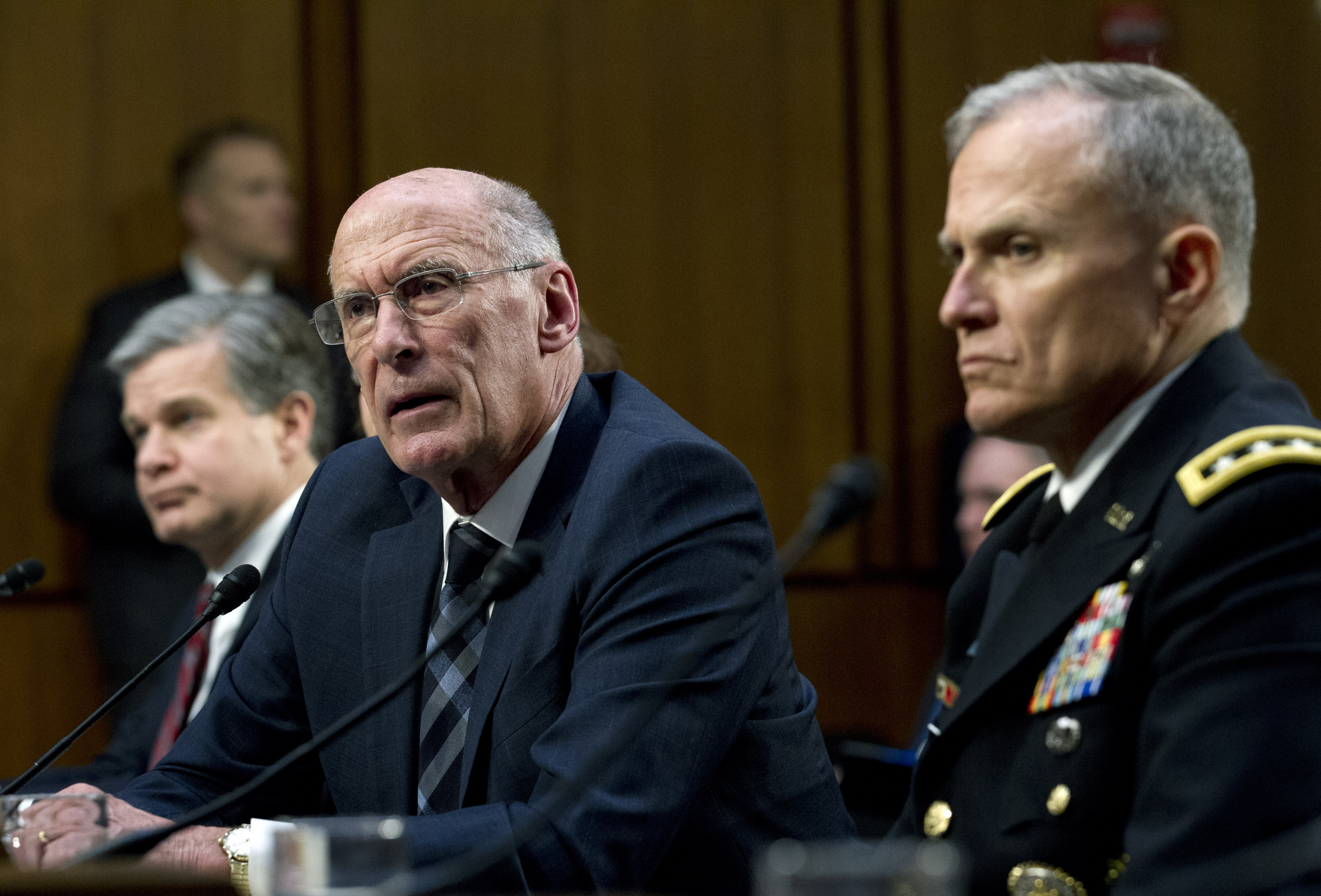 FILE - Director of National Intelligence Daniel Coats testifies before the Senate Intelligence Committee on Capitol Hill in Washington, Jan. 29, 2019.