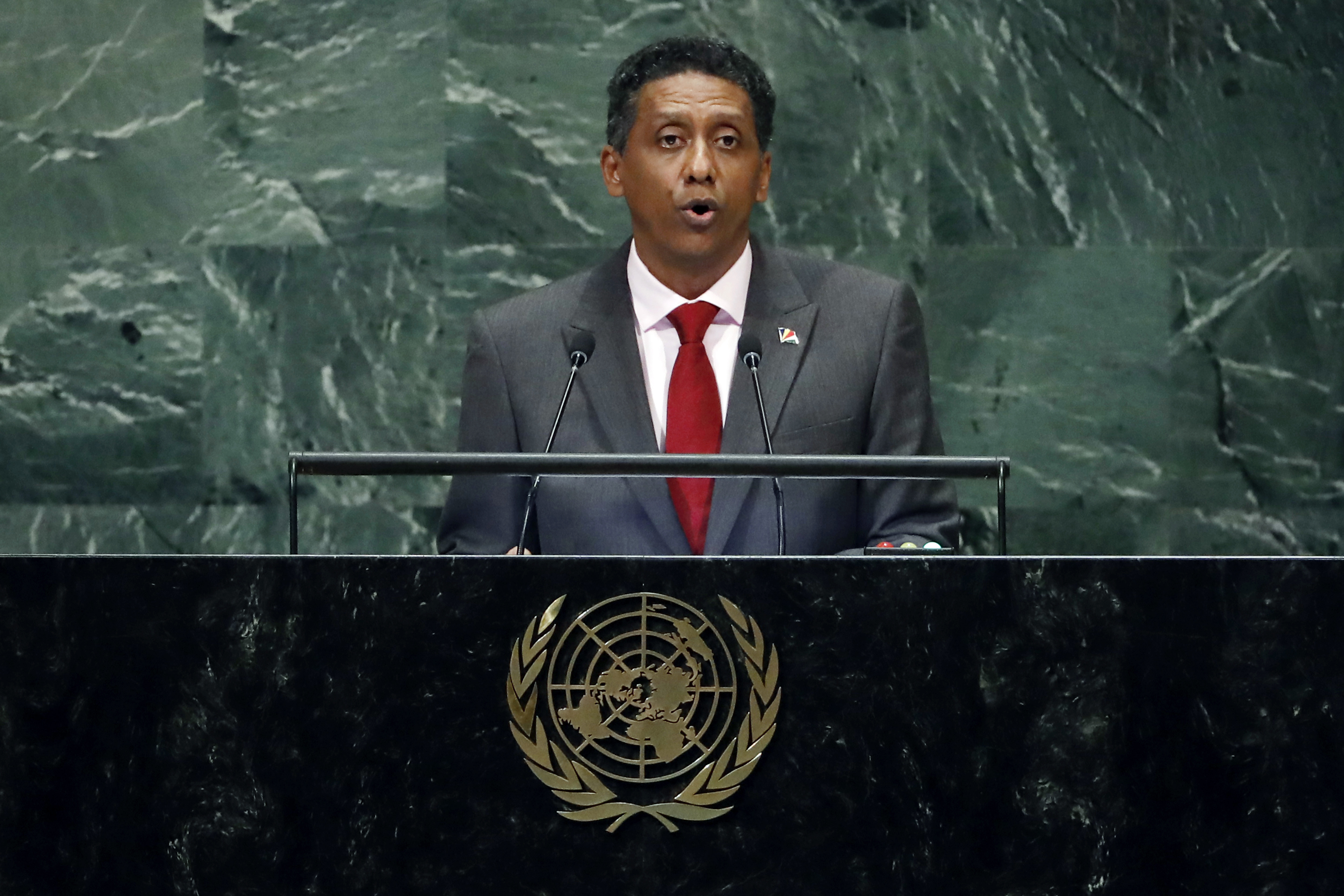 Seychelles President Danny Faure addresses the 73rd session of the United Nations General Assembly, at U.N. headquarters, Sept. 25, 2018.