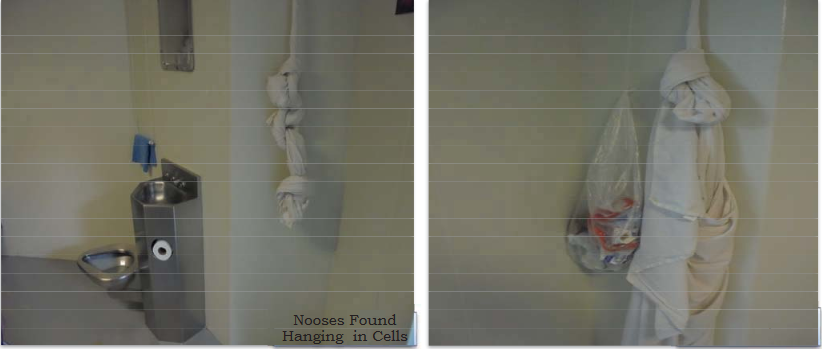 """""""Nooses"""" hang from vents in detainee cells, as observed by the Office of Inspector General (OIG) at the Adelanto Center, May 1, 2018. (Photo courtesy of OIG)"""