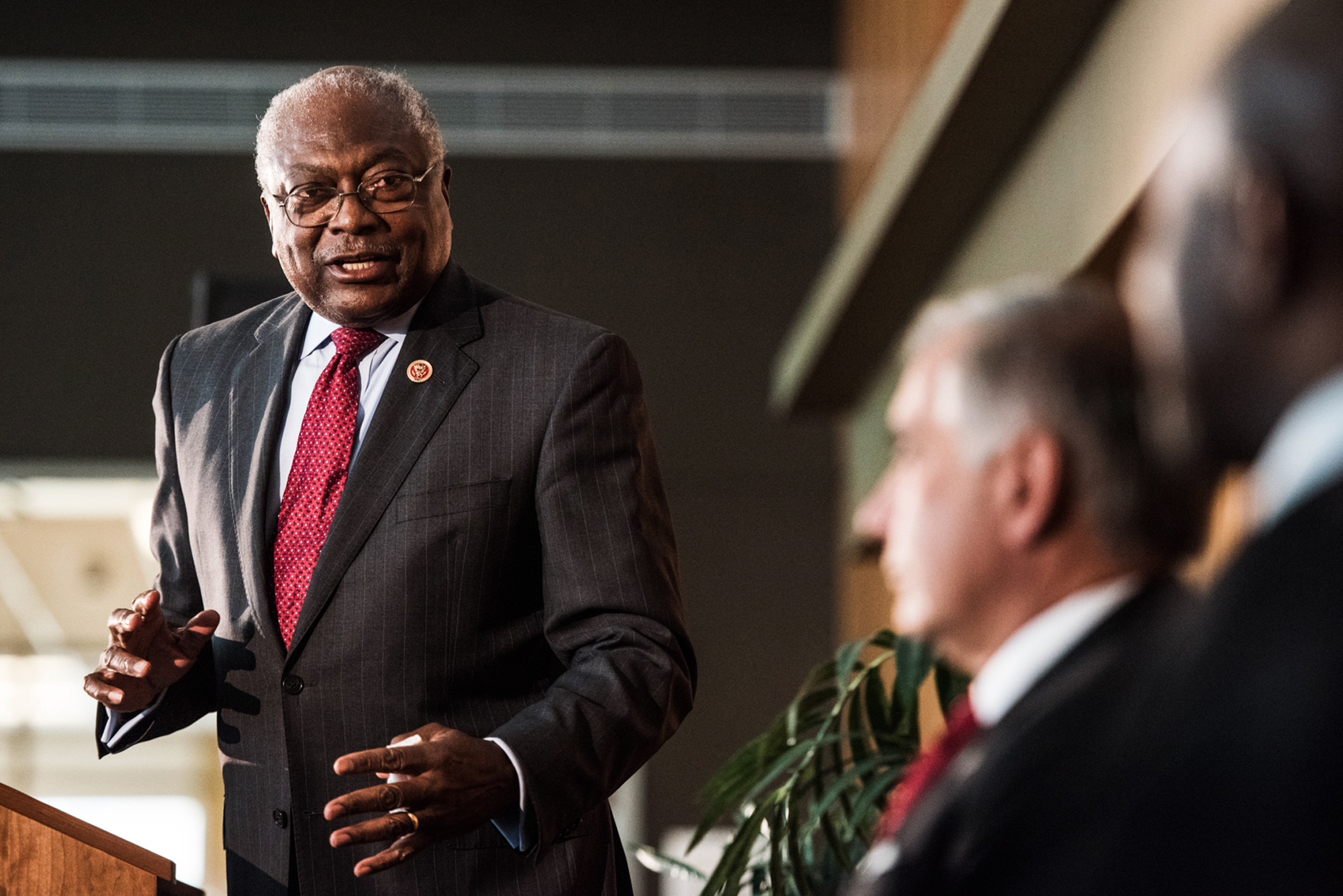 FILE - U.S. Rep. James Clyburn speaks in Columbia, S.C.