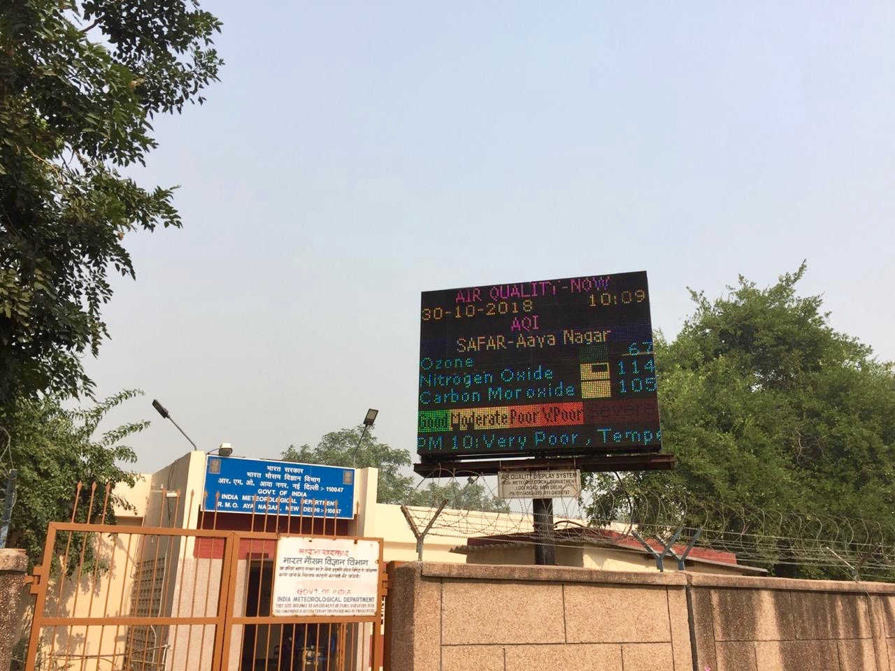 "A Board shows pollution levels as ""very poor"" in New Delhi."