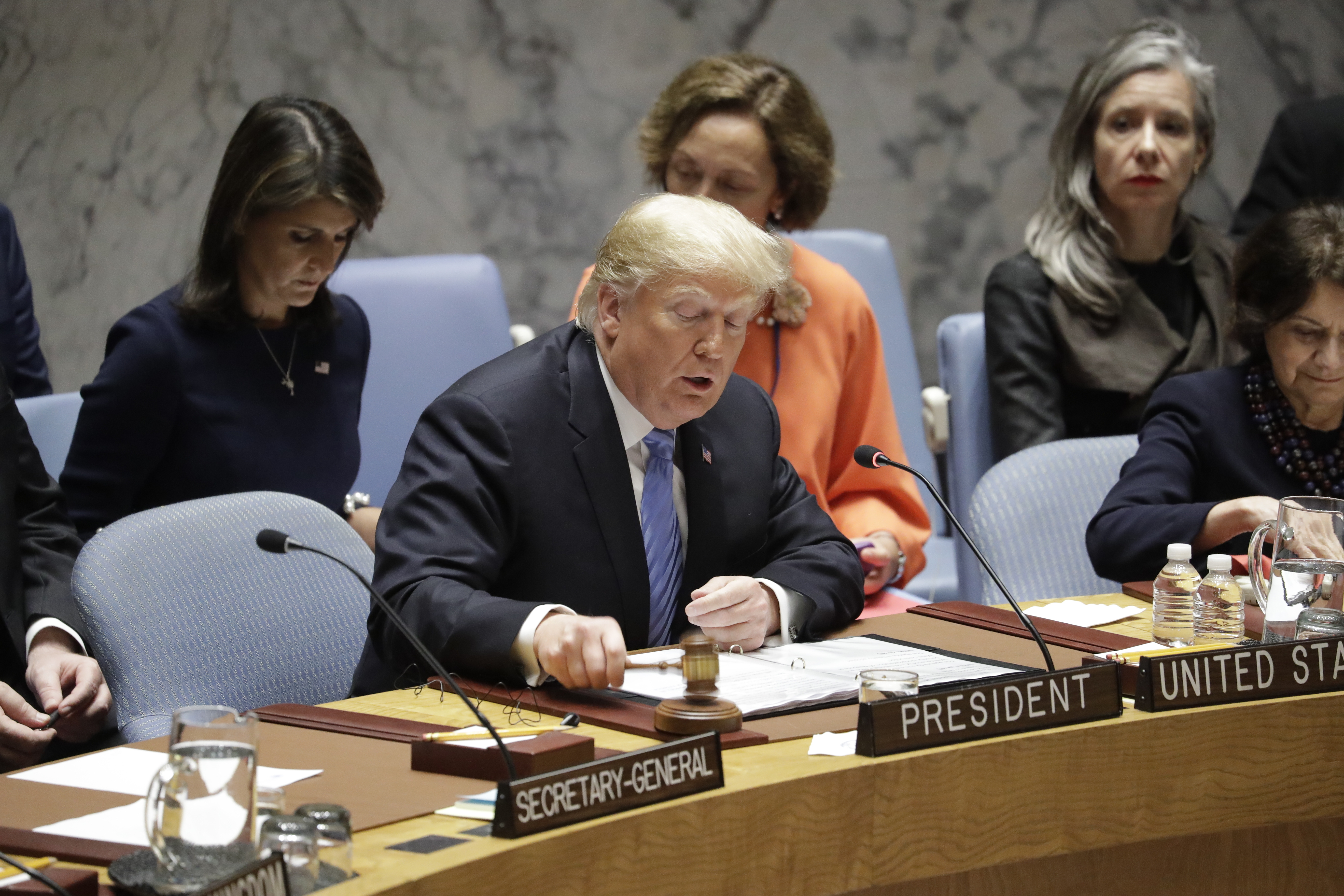 President Donald Trump chairs a United Nations Security Council meeting at the United Nations General Assembly, Sept. 26, 2018, at U.N. Headquarters.