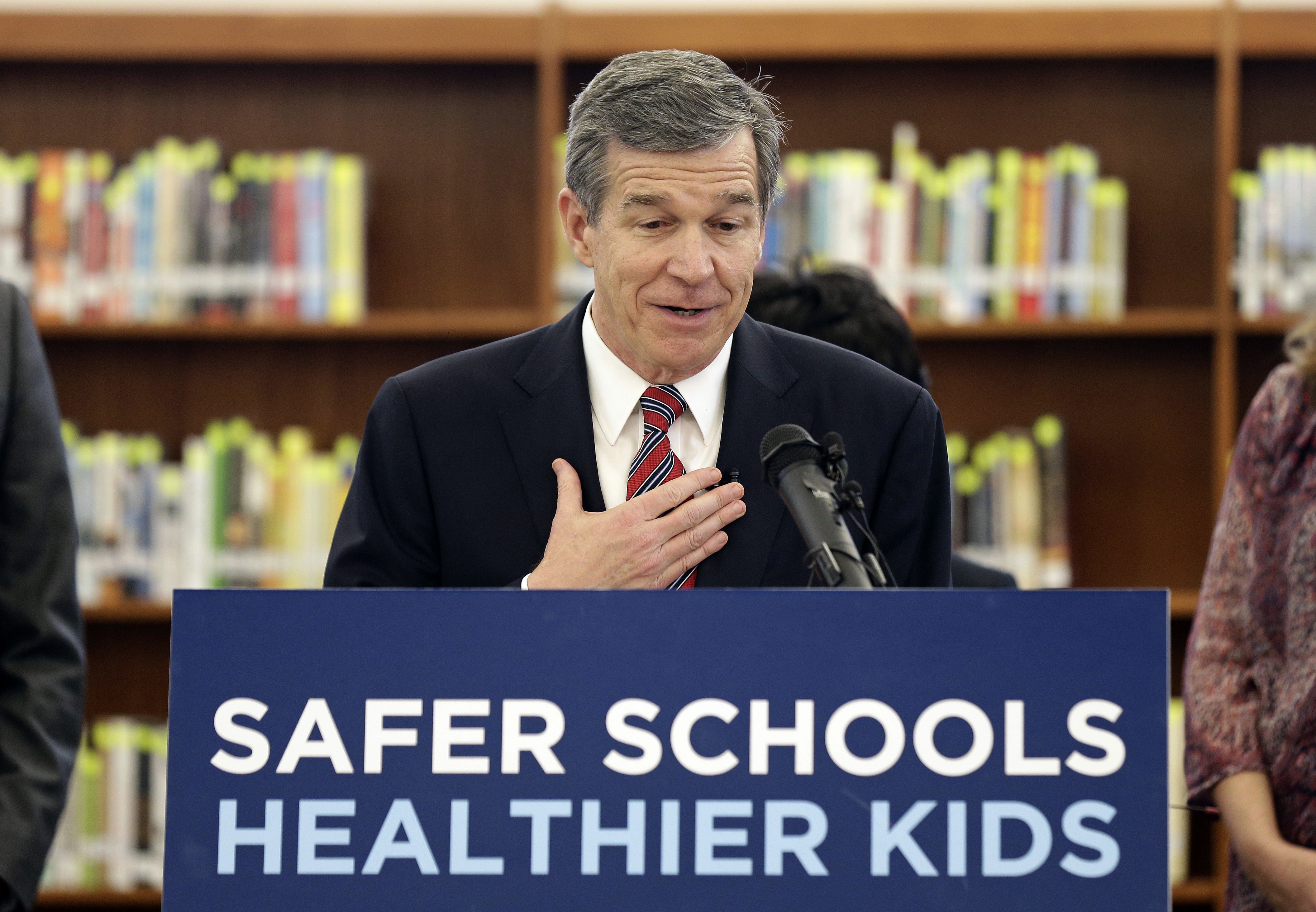 FILE - North Carolina Gov. Roy Cooper, pictured in Hillsborough, N.C., in April 2018, declared a state of emergency Sept. 7, 2018, and encouraged residents near the coast to prepare as Tropical Storm Florence continued to churn toward the U.S. East C...