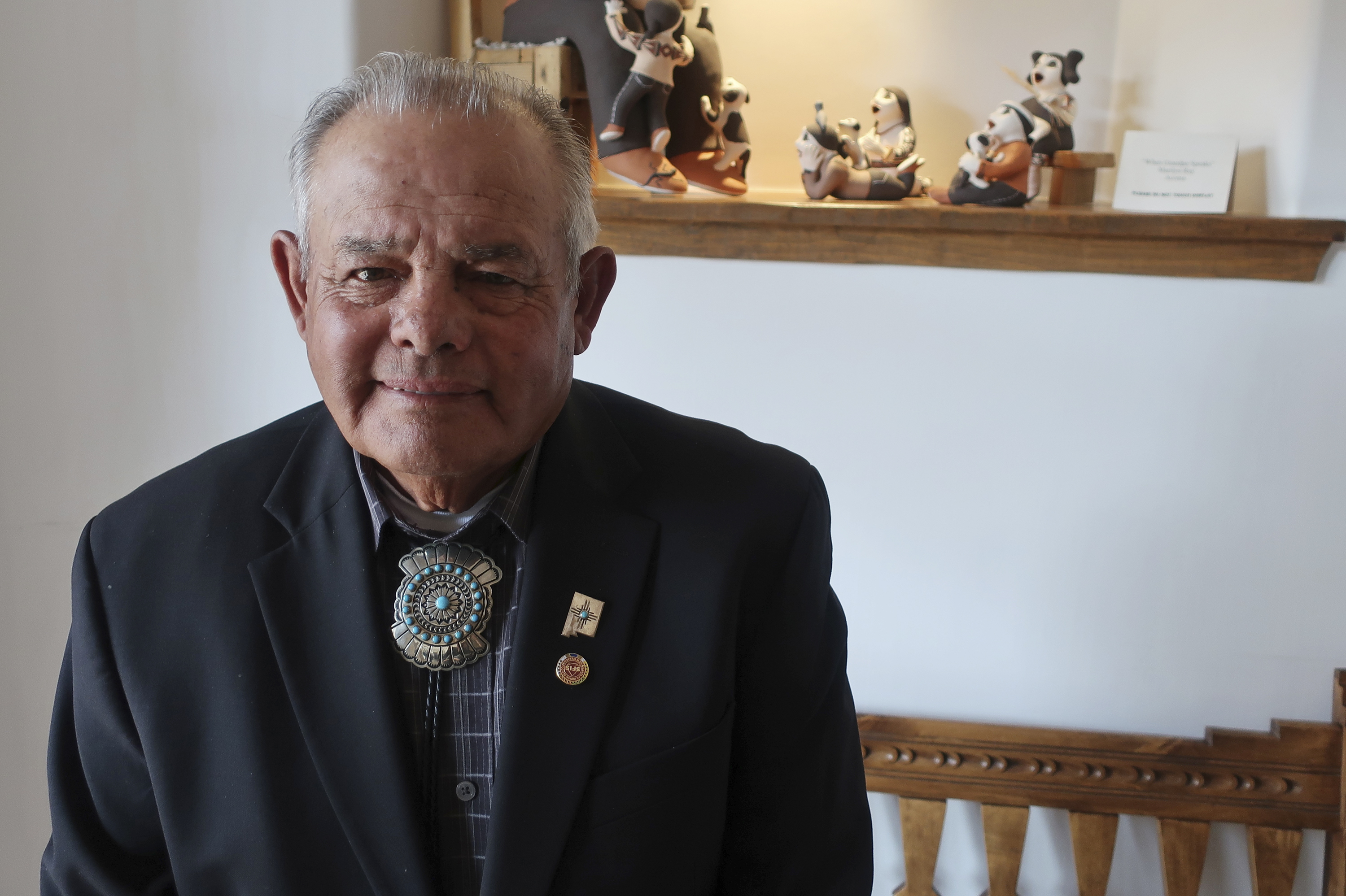 All Pueblo Council of Governors Chairman E. Paul Torres poses after a gathering of tribal leaders, March 21, 2019, in Acoma Pueblo, in New Mexico. Native American leaders are calling on U.S. officials to prevent oil and gas exploration around Chaco C...
