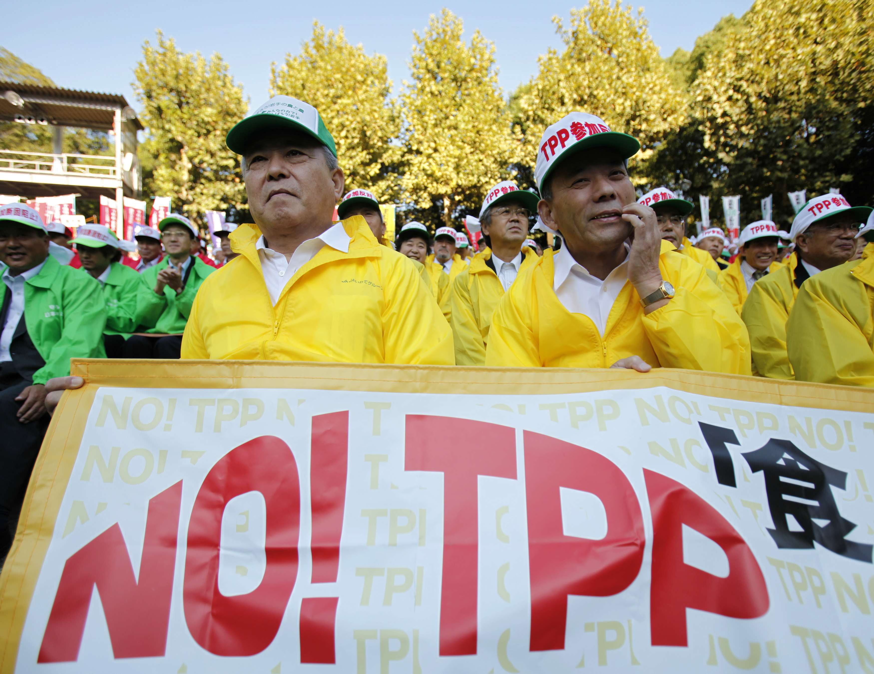 FILE - Farmers attend a rally against Japan participating in rule-making negotiations for the U.S.-led Trans-Pacific Partnership (TPP) in Tokyo.