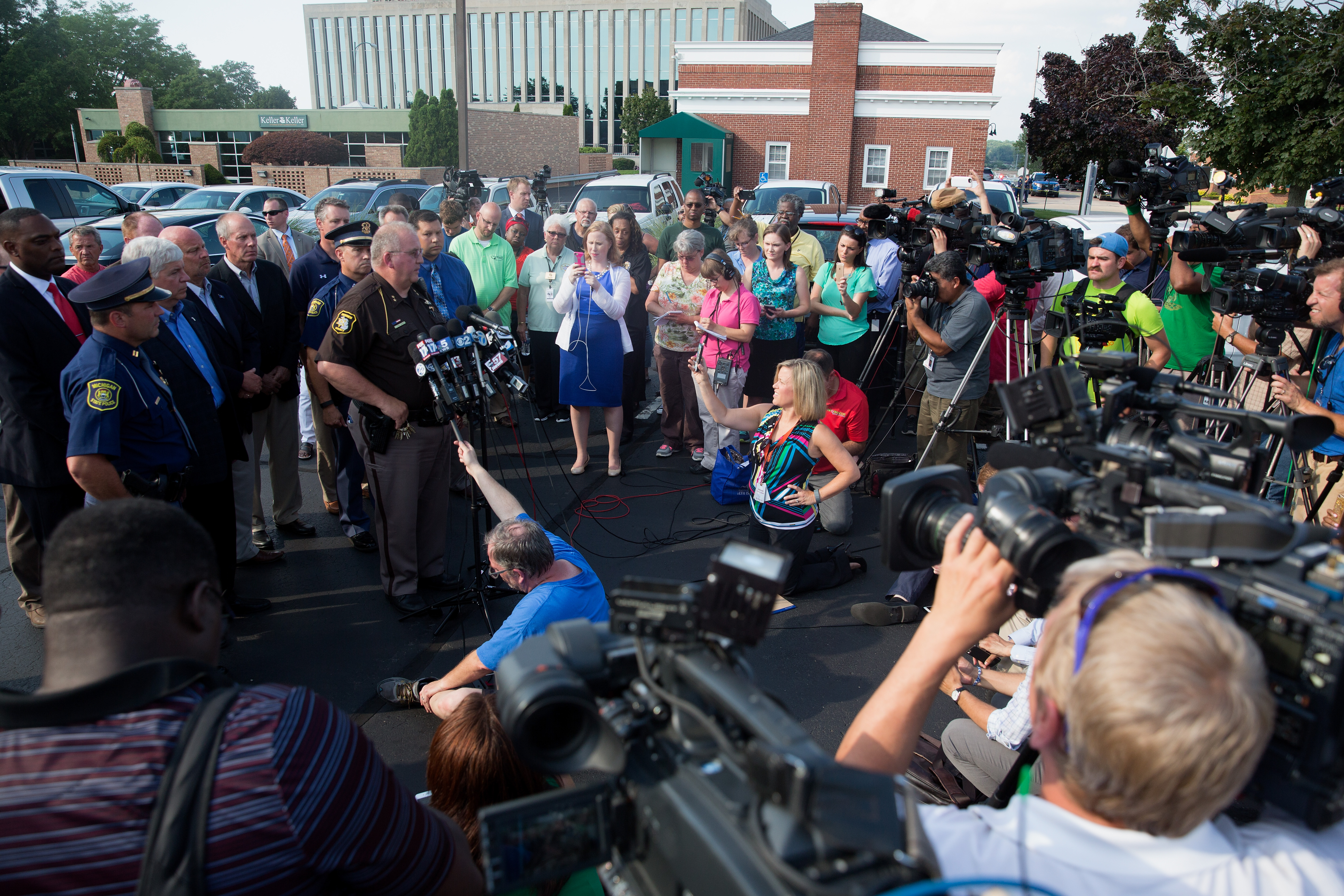 Sheriff Paul Bailey of Berrien County speaks at a press conference at Berrien County Courthouse where several people where shot in Saint Joseph, Michigan, July 11, 2016.
