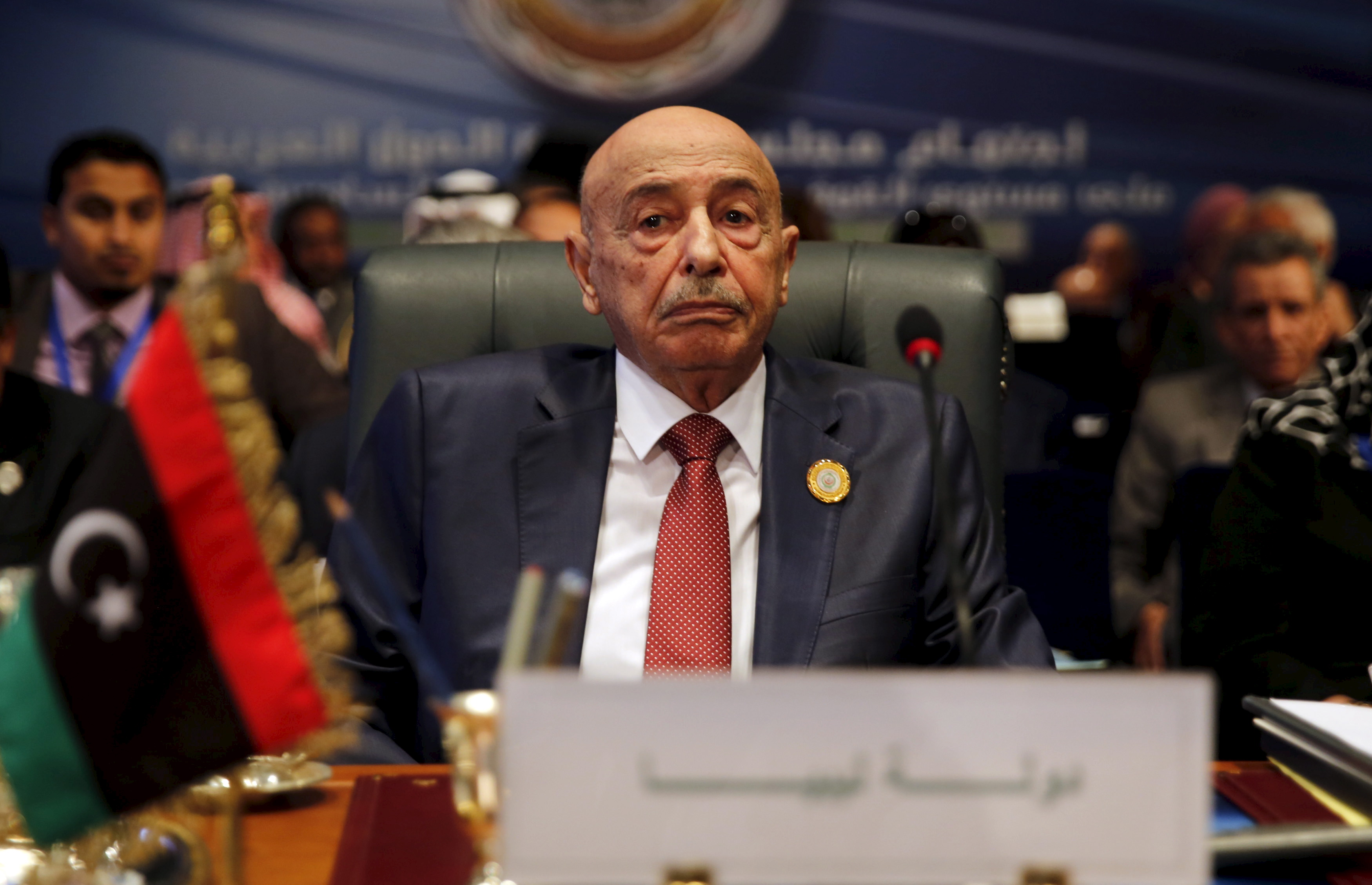 FILE - President of the Libyan House of Representatives Aguila Saleh attends the closing session of an Arab summit in Sharm el-Sheikh, in the South Sinai governorate, south of Cairo, March 29, 2015.