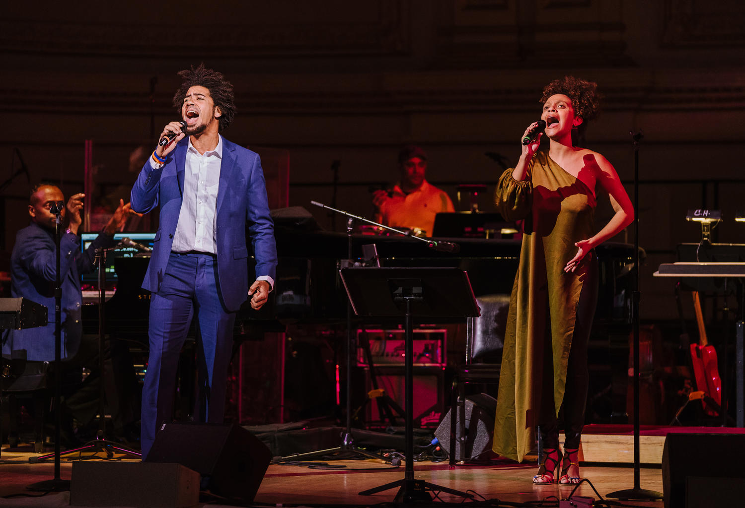 "Rob performs his original song ""Testify"" with teaching artist Sarah Elizabeth Charles in concert at Carnegie Hall, March 11, 2018 (Photo by Fadi Kheir)"