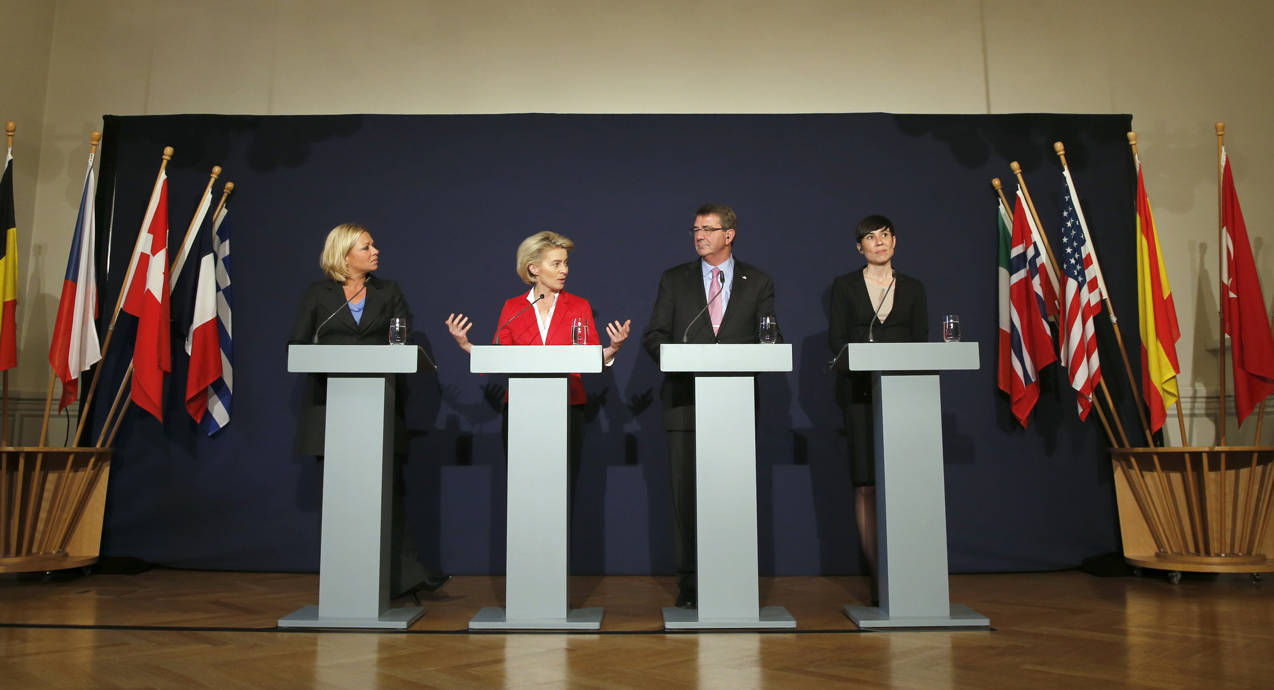 NATO states defense ministers (L-R) Jeanine Hennis-Plasschaert of the Netherlands, Ursula von der Leyen of Germany, Ashton Carter of the U.S. and Ine Eriksen Soereide of Norway attend a news conference during a visit to the Very High Readiness Joint ...