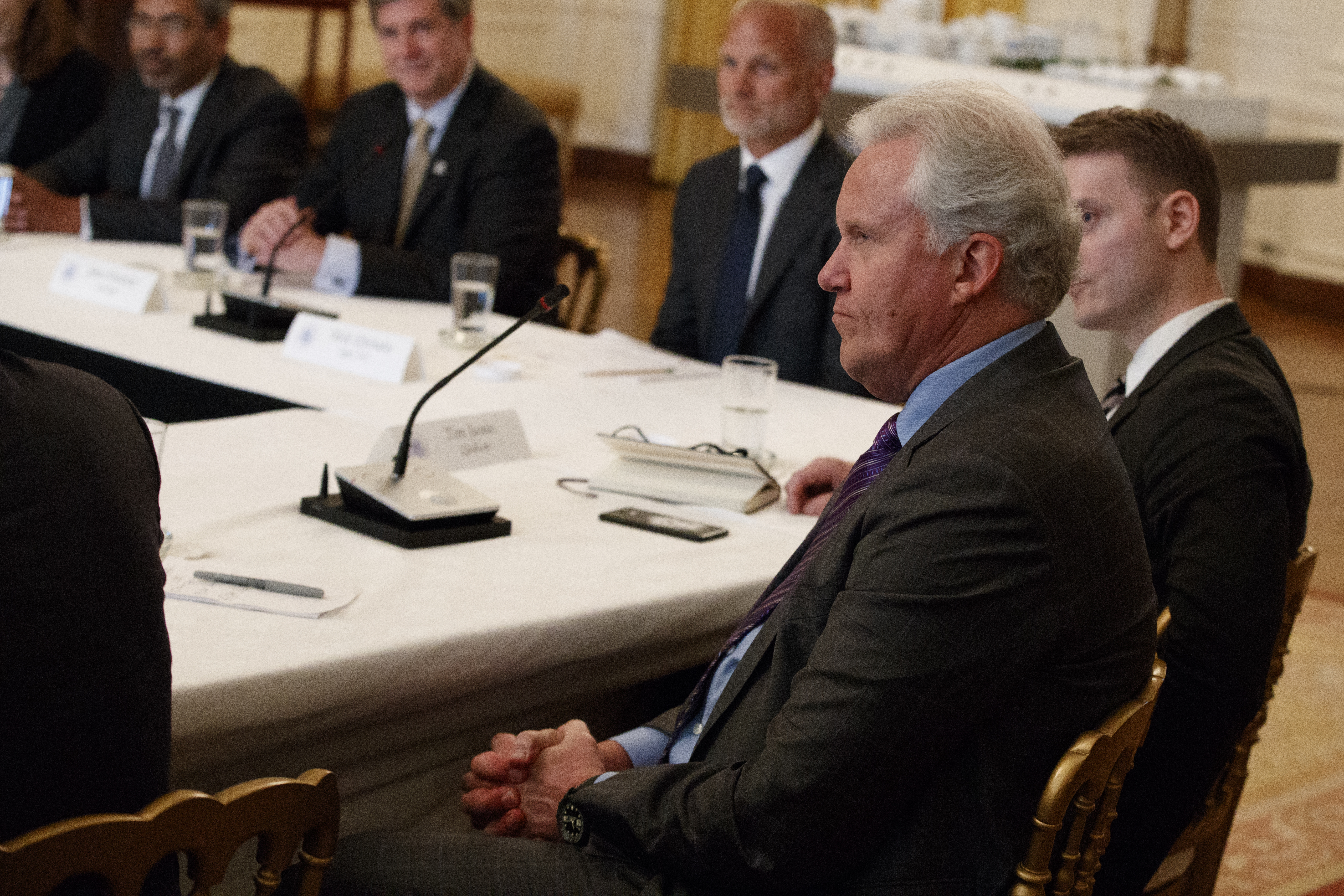 """GE CEO Jeff Immelt listens during the """"American Leadership in Emerging Technology"""" event with President Donald Trump in the East Room of the White House, June 22, 2017, in Washington."""