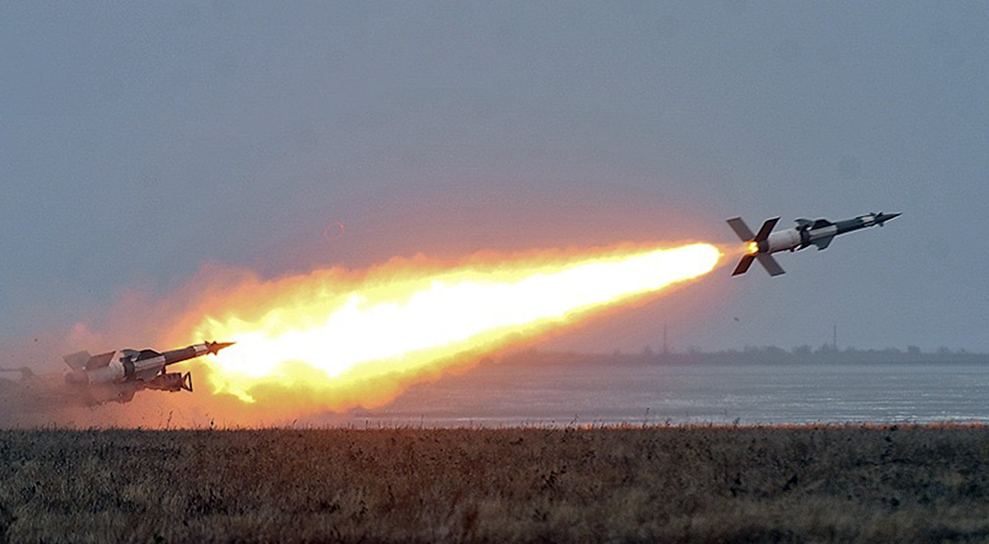 FILE - In this photo released by the Ukrainian National Security and Defense Council, an anti-aircraft rocket system is tested at a military training ground Odessa region, Ukraine, Dec. 5, 2018. The Ukrainian military has been on increased readiness ...