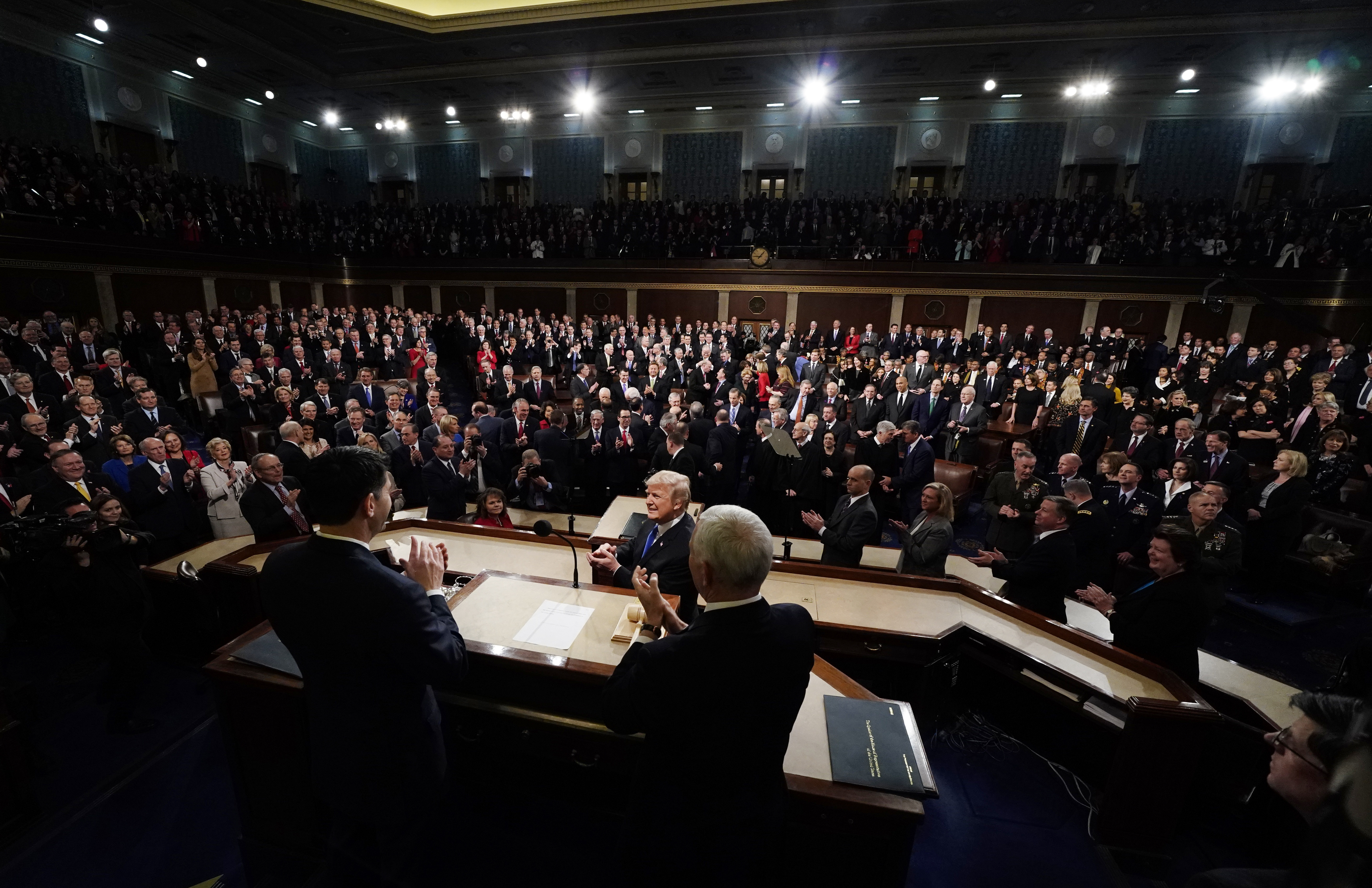 President Donald Trump arrives to deliver his State of the Union address to a joint session of U.S. Congress on Capitol Hill in Washington, Jan. 30, 2018.