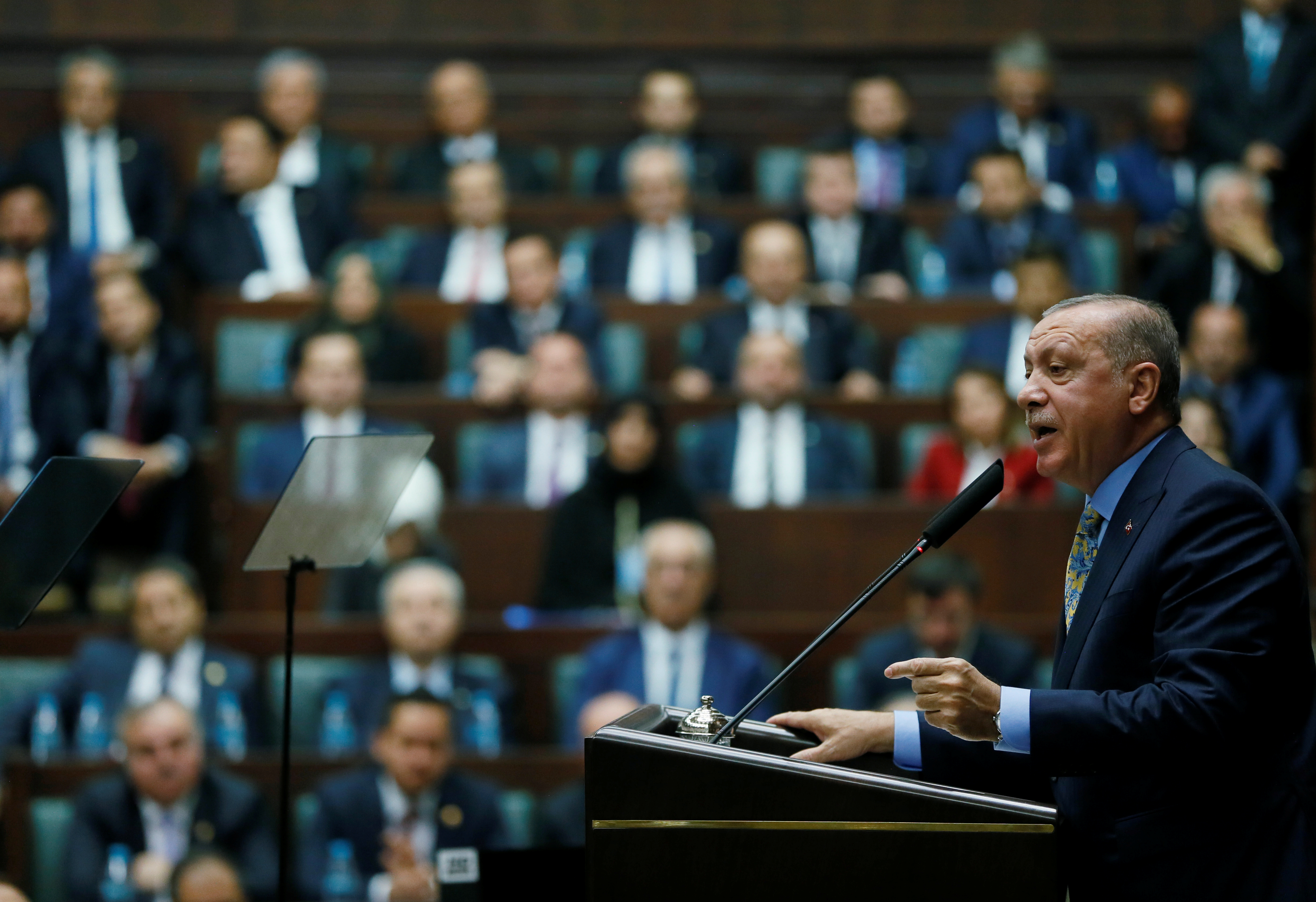 Turkish President Tayyip Erdogan addresses members of parliament from his ruling AK Party (AKP) during a meeting at the Turkish parliament in Ankara, Oct. 23, 2018. (Presidential Press Office via Reuters)