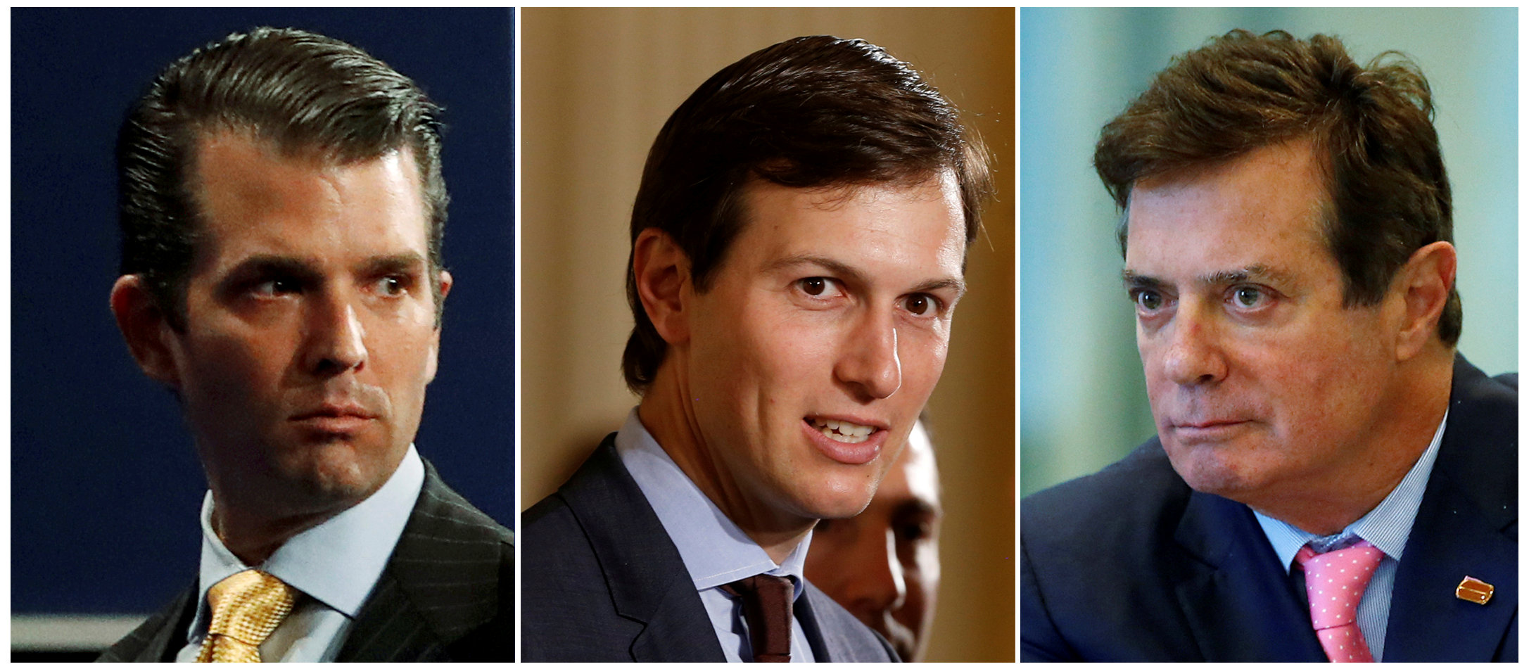 FILE - A combination photo of Donald Trump Jr. from July 11, 2017, Jared Kushner from June 6, 2017 and Paul Manafort from Aug. 17, 2016.